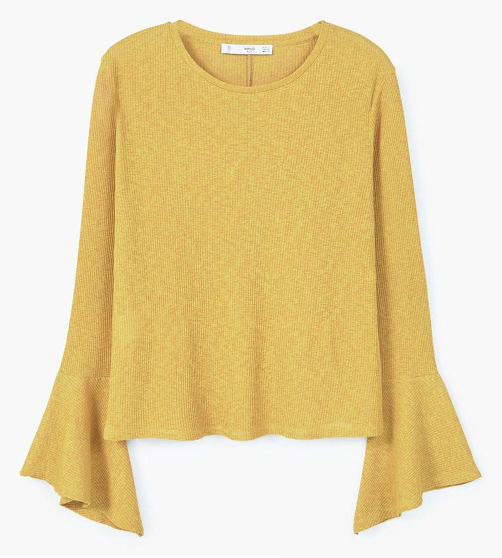 تی شرت یقه گرد زنانه - مانگو - خردلي - 1