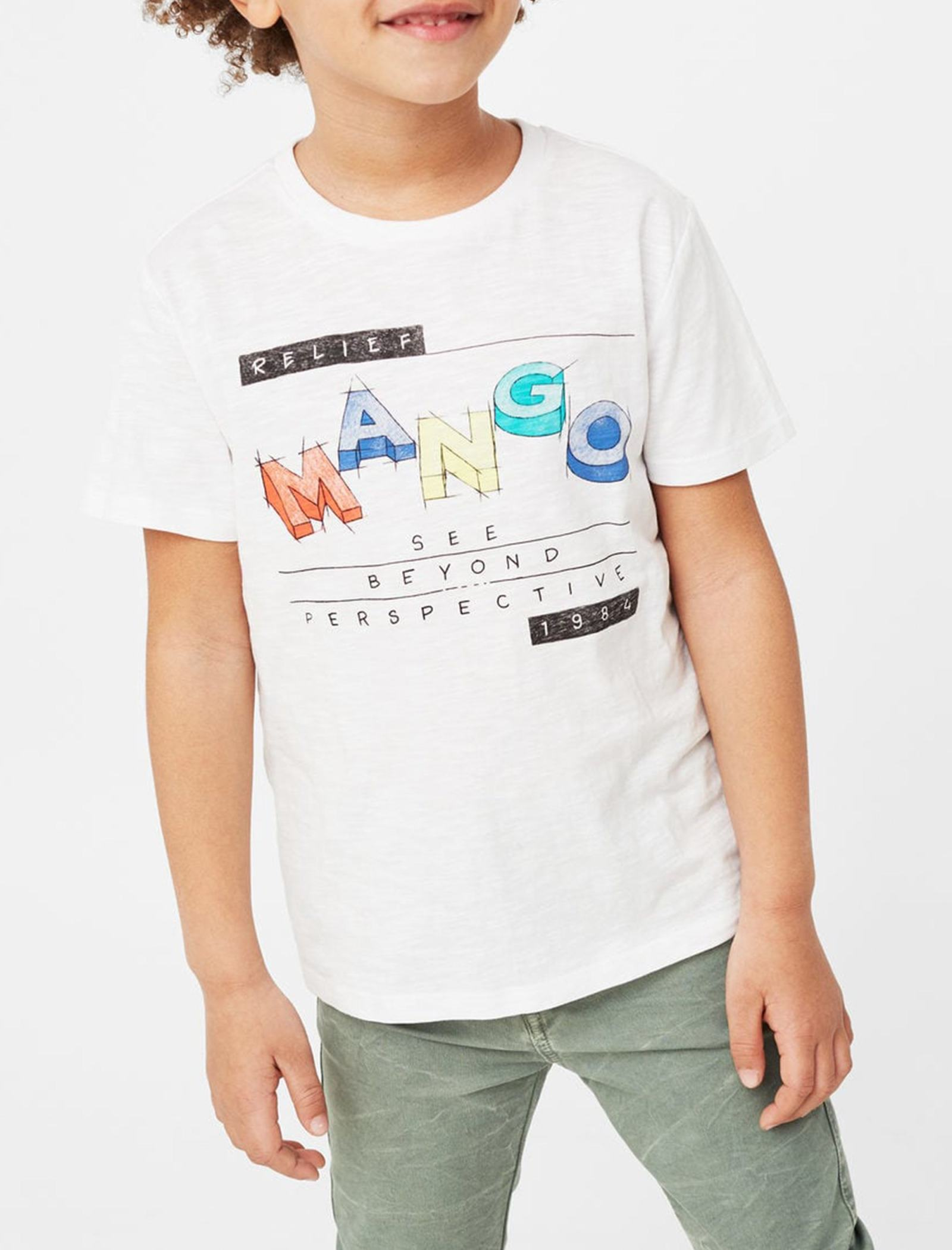 تی شرت نخی یقه گرد پسرانه - مانگو - سفيد - 2