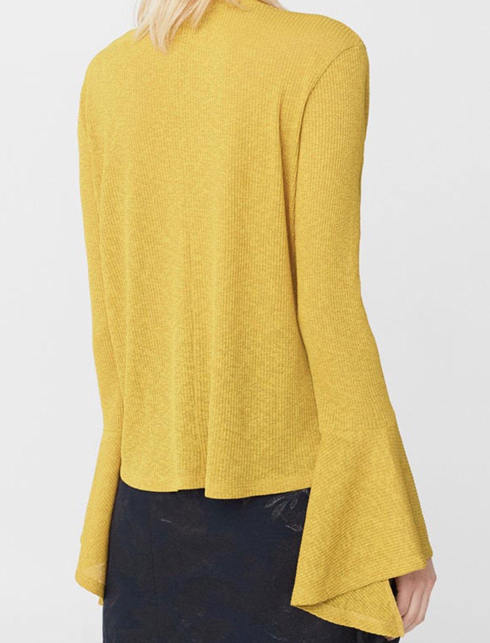 تی شرت یقه گرد زنانه - مانگو - خردلي - 3