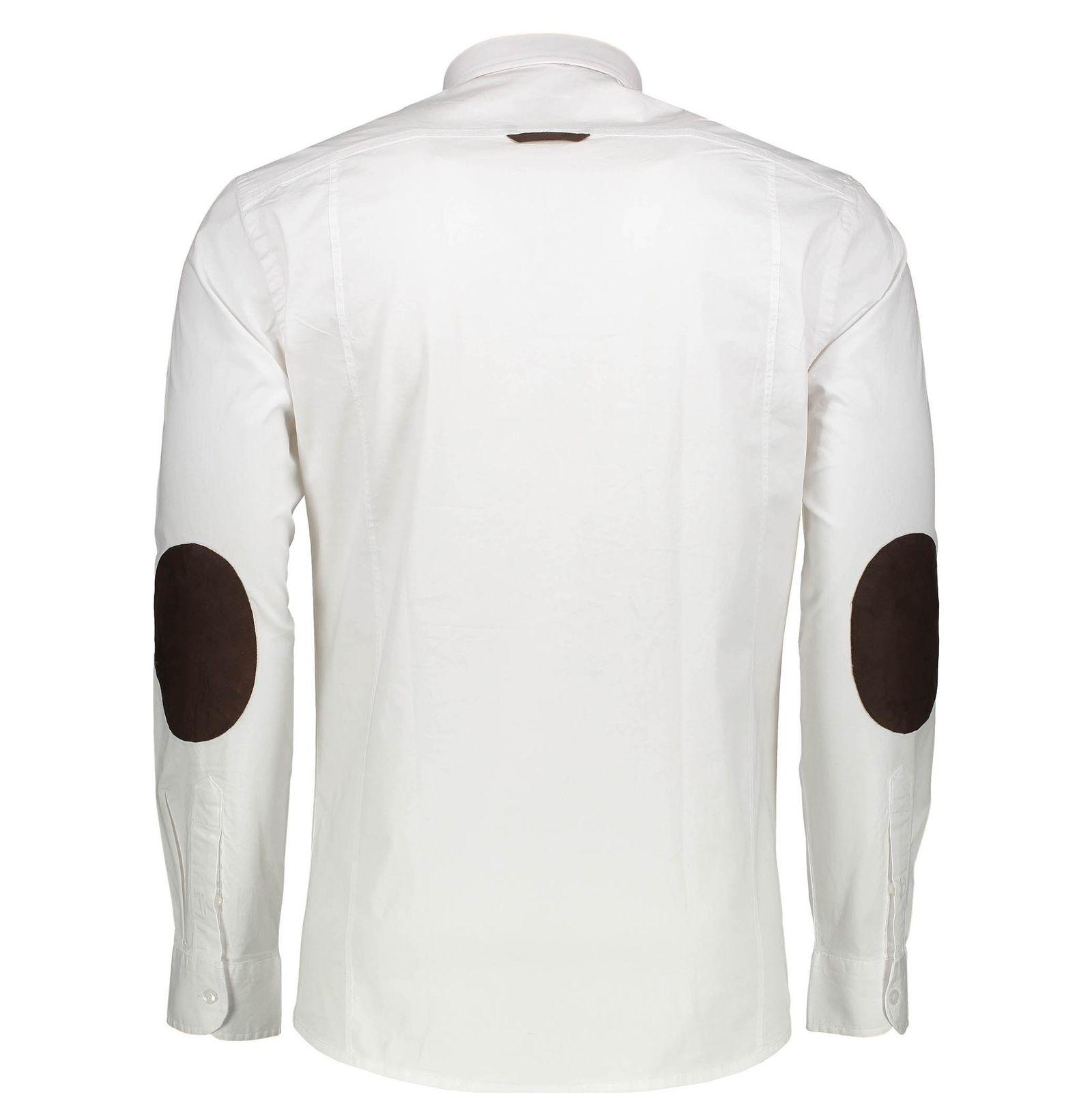 پیراهن نخی آستین بلند مردانه - گلد - سفيد - 2