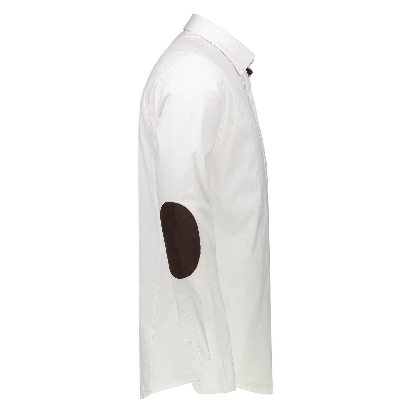 پیراهن نخی آستین بلند مردانه - گلد - سفيد - 3