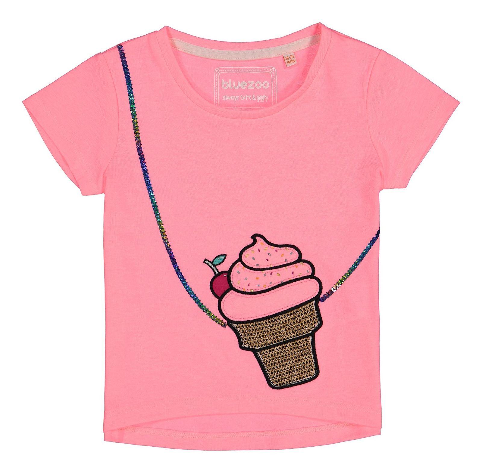 تی شرت نخی یقه گرد دخترانه - بلوزو - صورتي  - 1