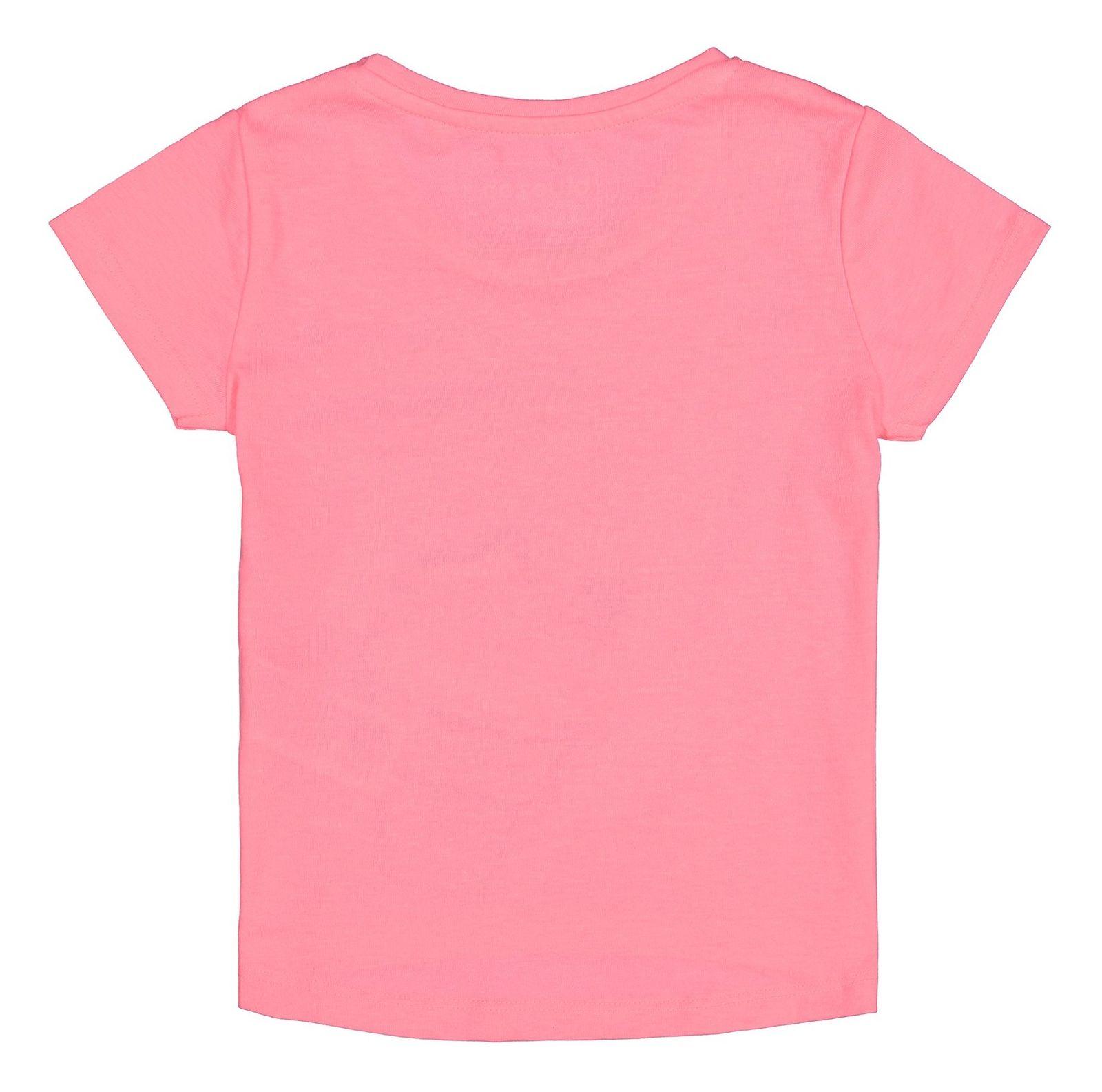 تی شرت نخی یقه گرد دخترانه - بلوزو - صورتي  - 2