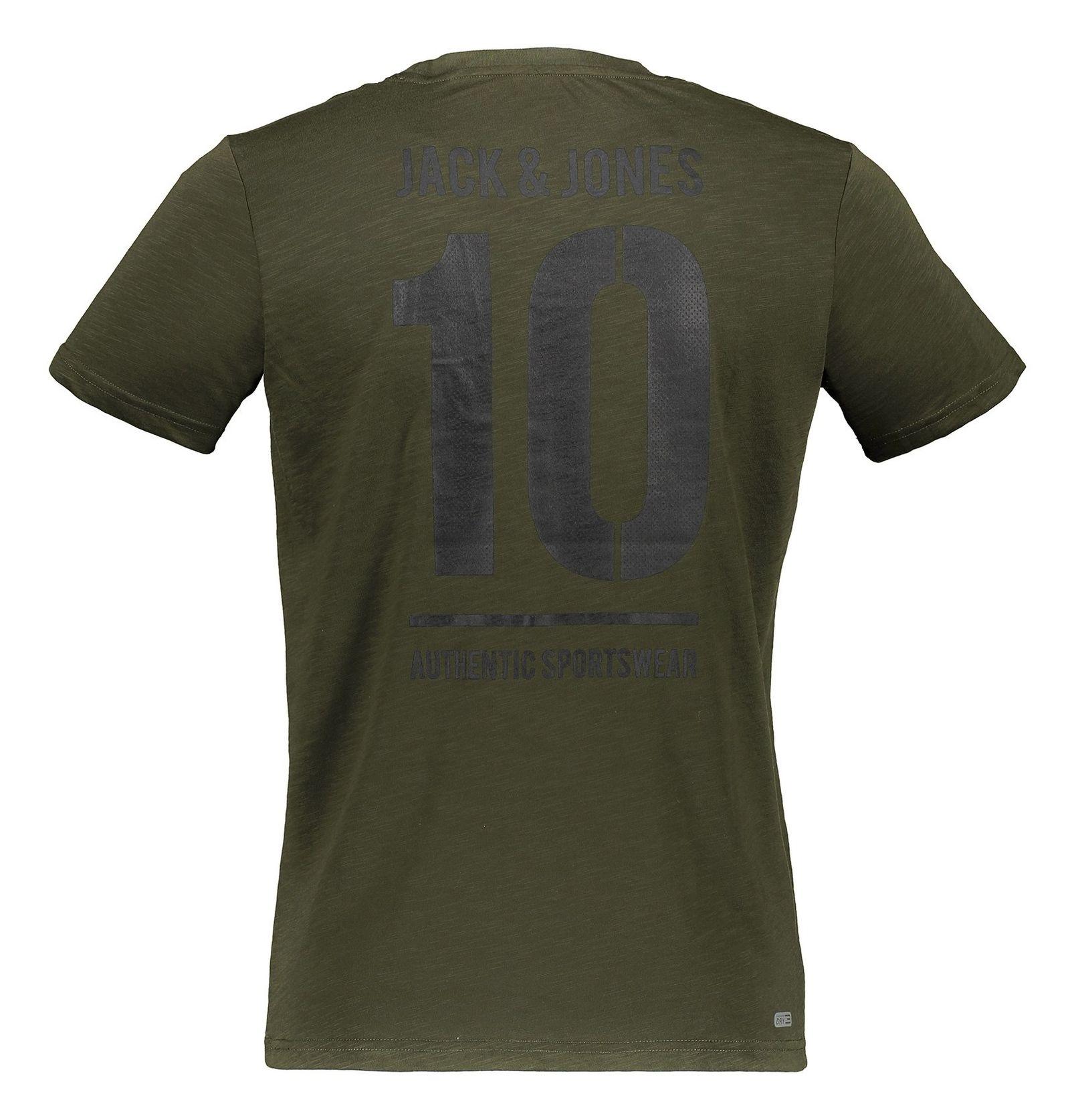 تی شرت ورزشی یقه گرد مردانه - جک اند جونز - زيتوني - 2