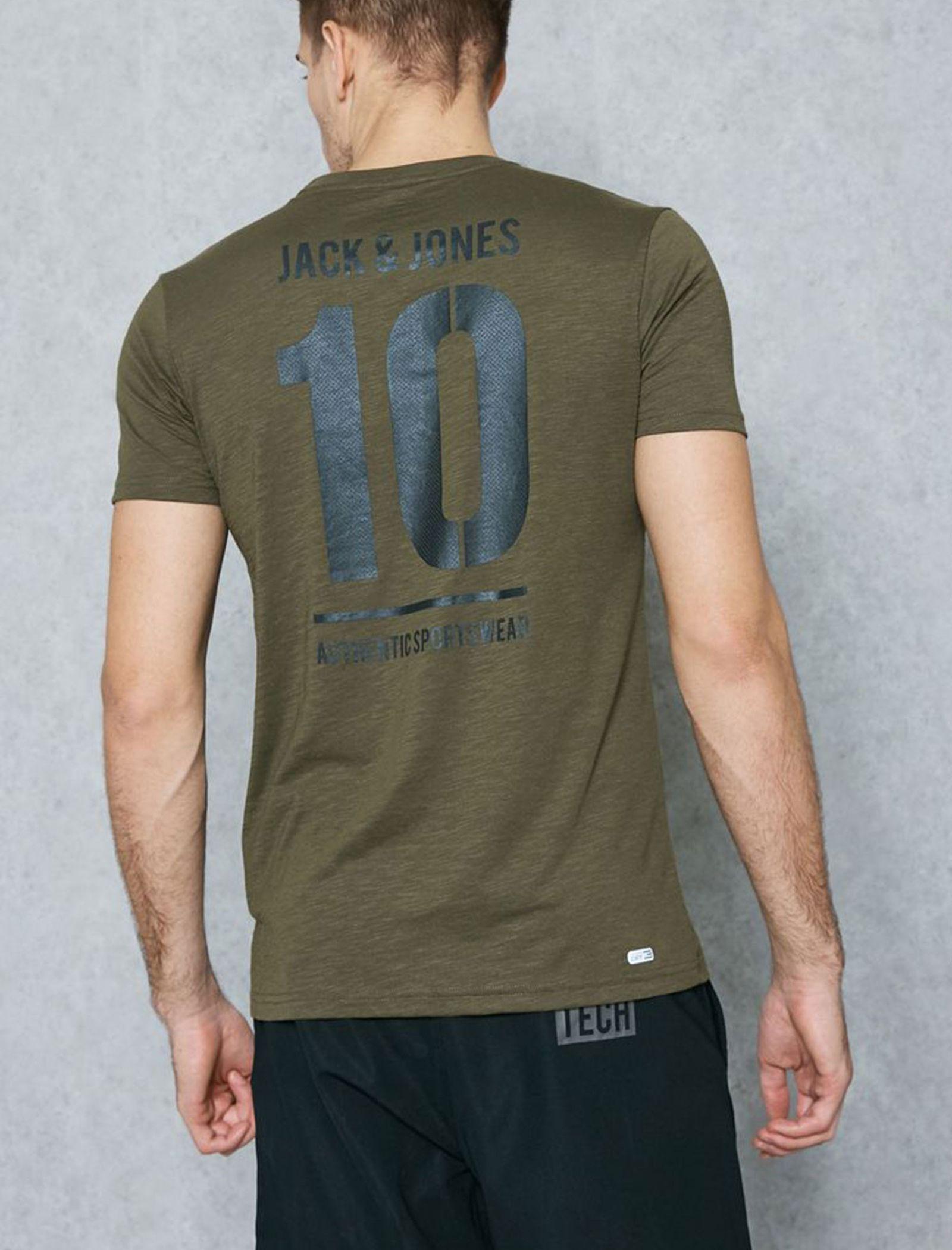 تی شرت ورزشی یقه گرد مردانه - جک اند جونز - زيتوني - 6
