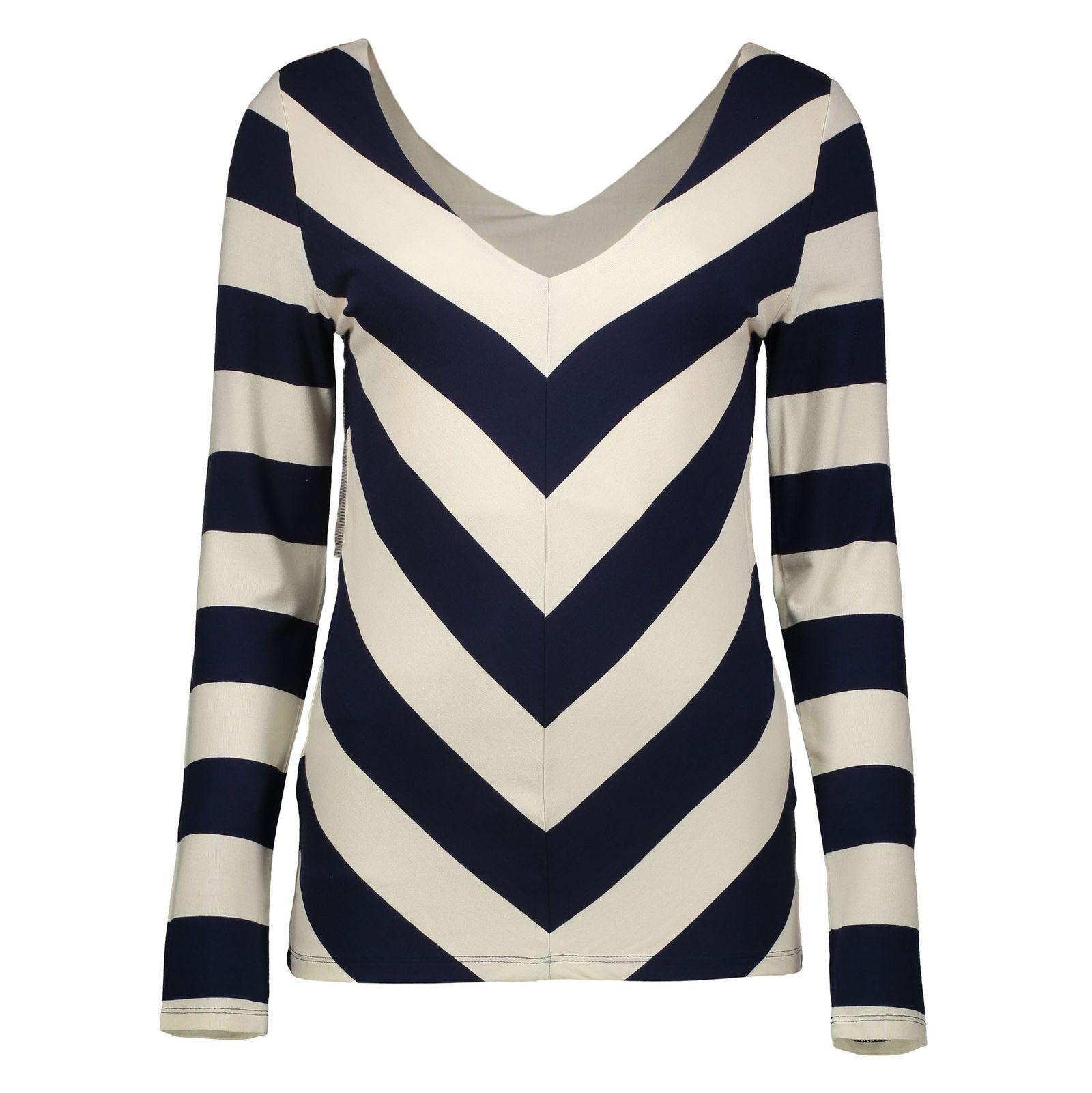تی شرت ویسکوز یقه هفت زنانه - فاینری لندن - سرمه اي و کرم - 1