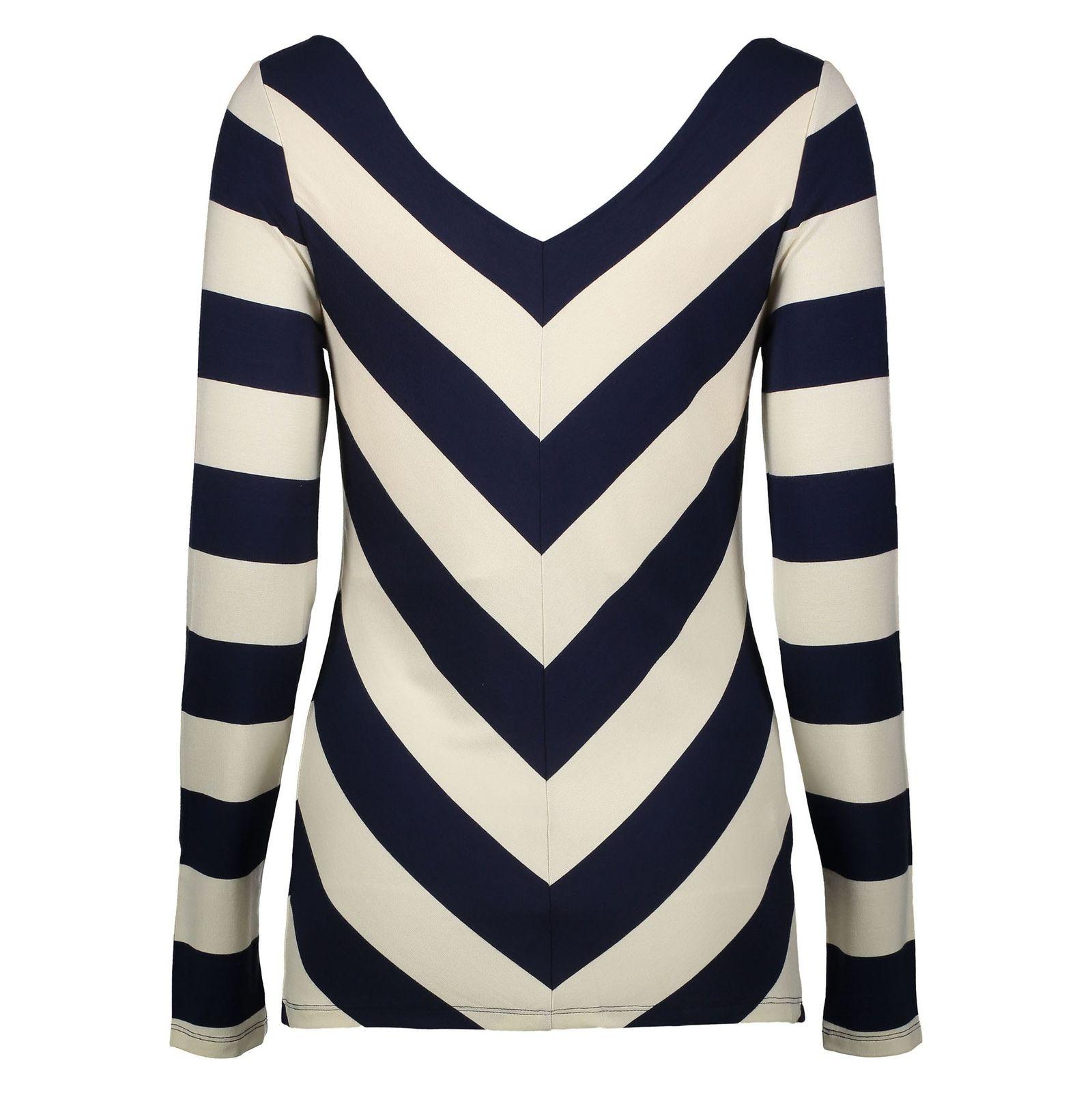 تی شرت ویسکوز یقه هفت زنانه - فاینری لندن - سرمه اي و کرم - 2