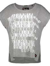 تی شرت یقه گرد زنانه Boxy Text - سوپردرای - طوسي روشن - 1