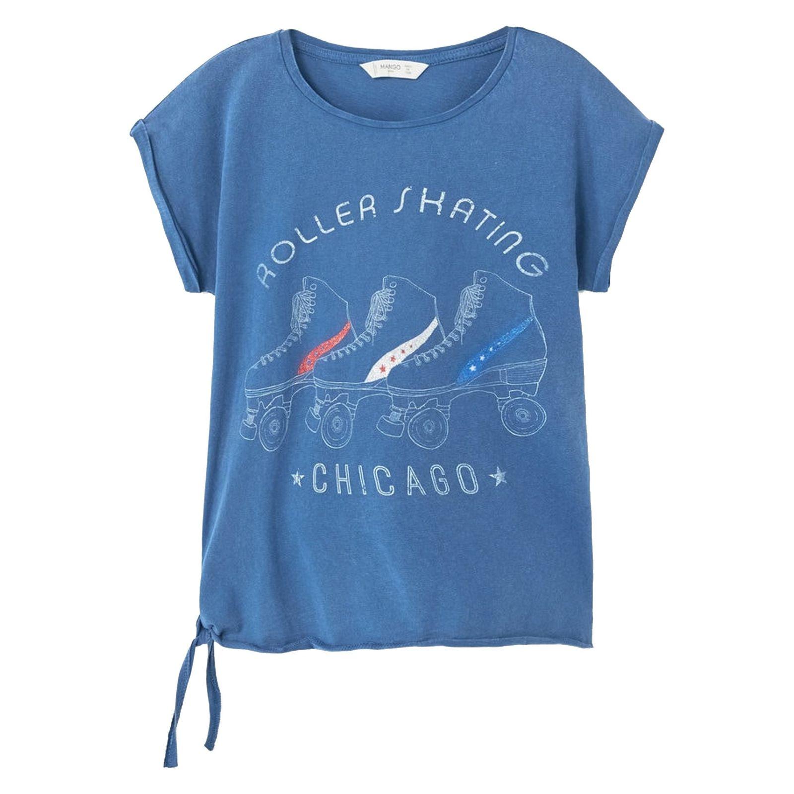 تی شرت نخی یقه گرد دخترانه - مانگو - آبي تيره - 1