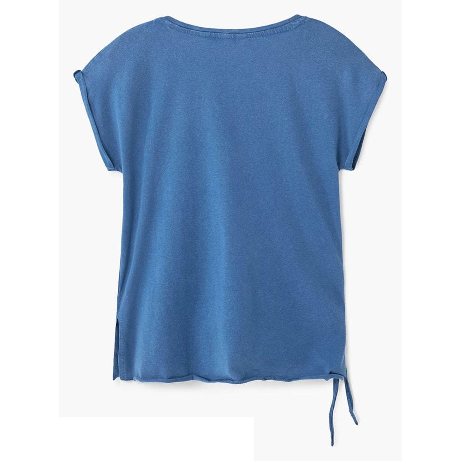 تی شرت نخی یقه گرد دخترانه - مانگو - آبي تيره - 2