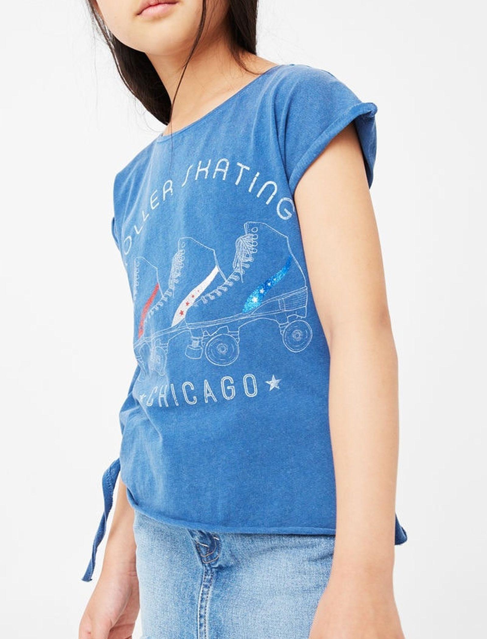 تی شرت نخی یقه گرد دخترانه - مانگو - آبي تيره - 3