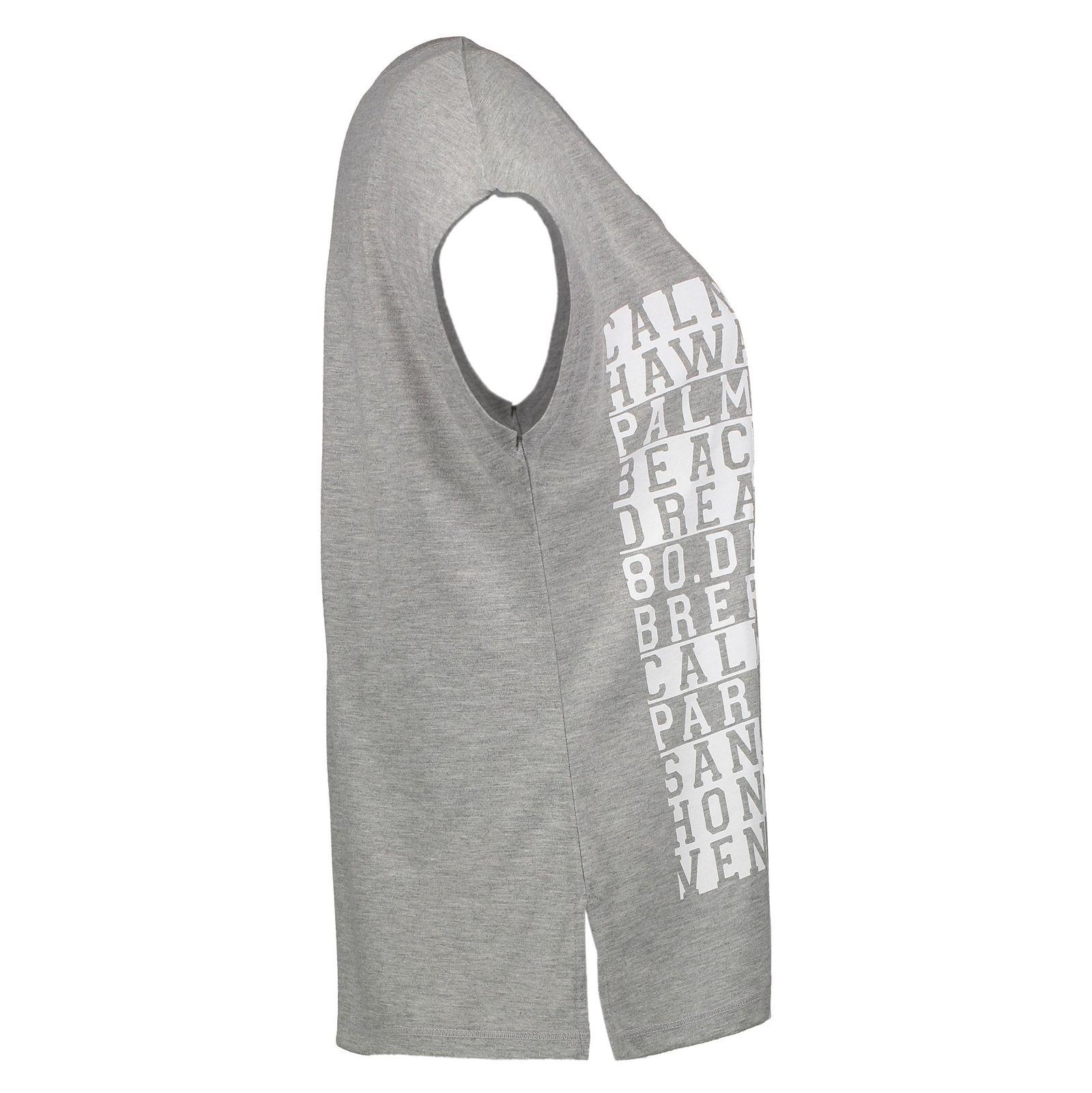 تی شرت یقه گرد زنانه Boxy Text - سوپردرای - طوسي روشن - 4