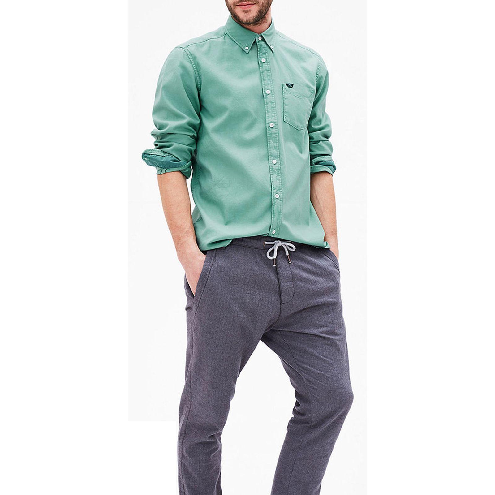 پیراهن نخی آستین بلند مردانه - اس.اولیور - سبز - 4