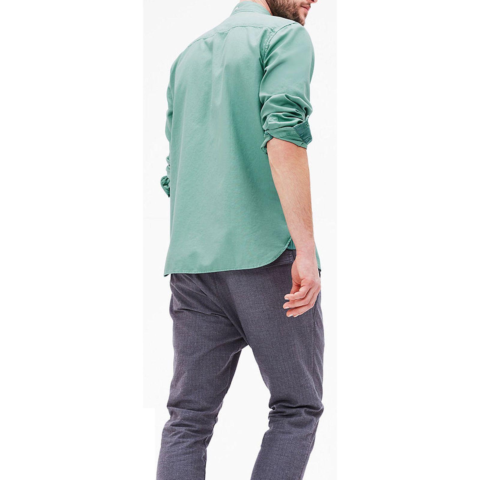پیراهن نخی آستین بلند مردانه - اس.اولیور - سبز - 5