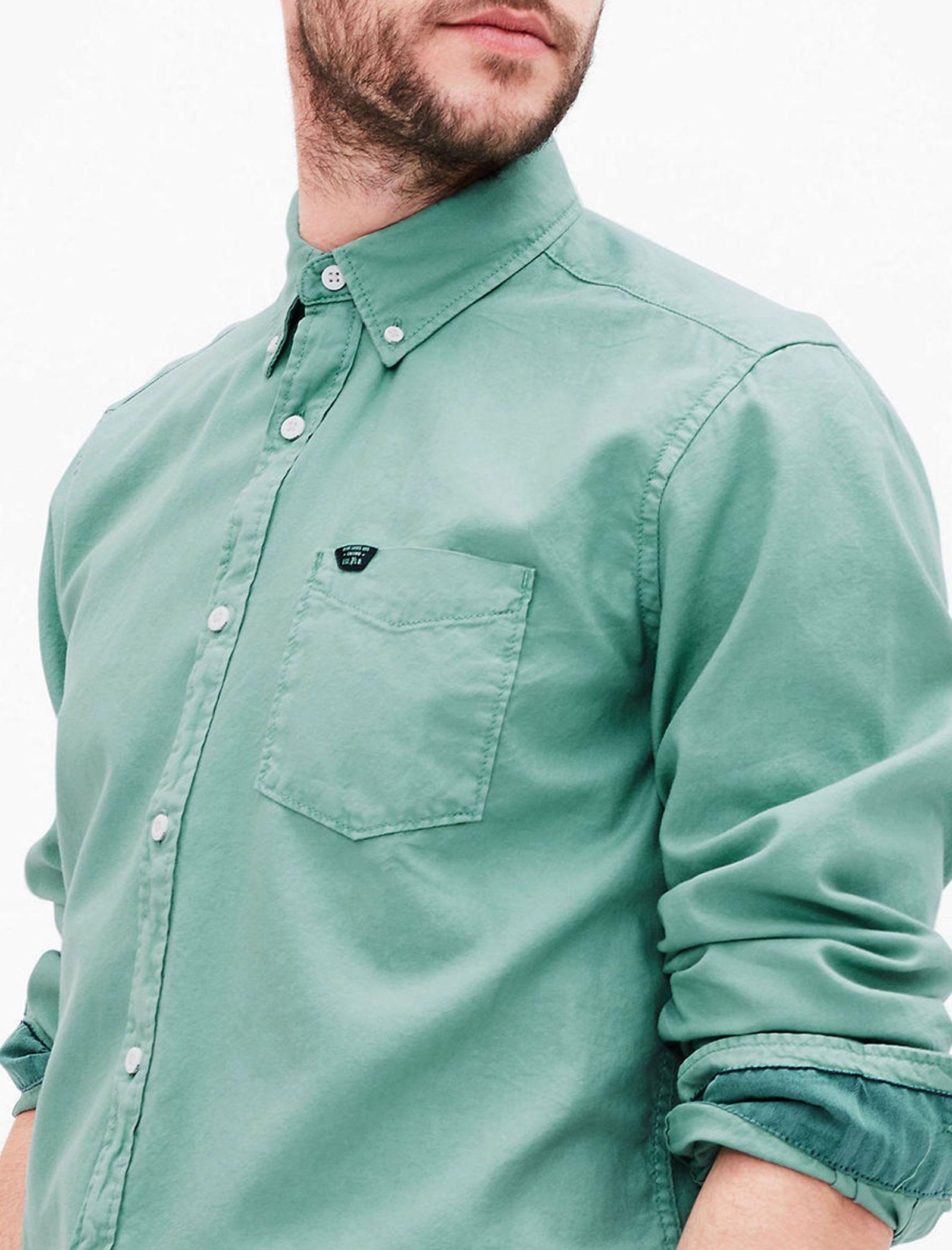 پیراهن نخی آستین بلند مردانه - اس.اولیور - سبز - 6