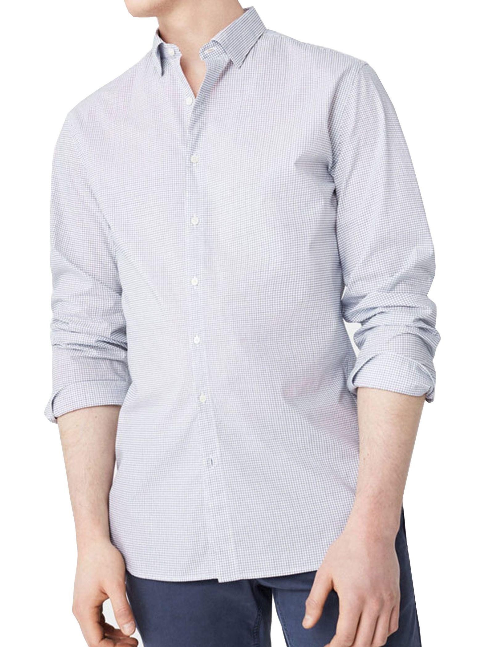 پیراهن آستین بلند مردانه - مانگو - سفيد و آبي - 5