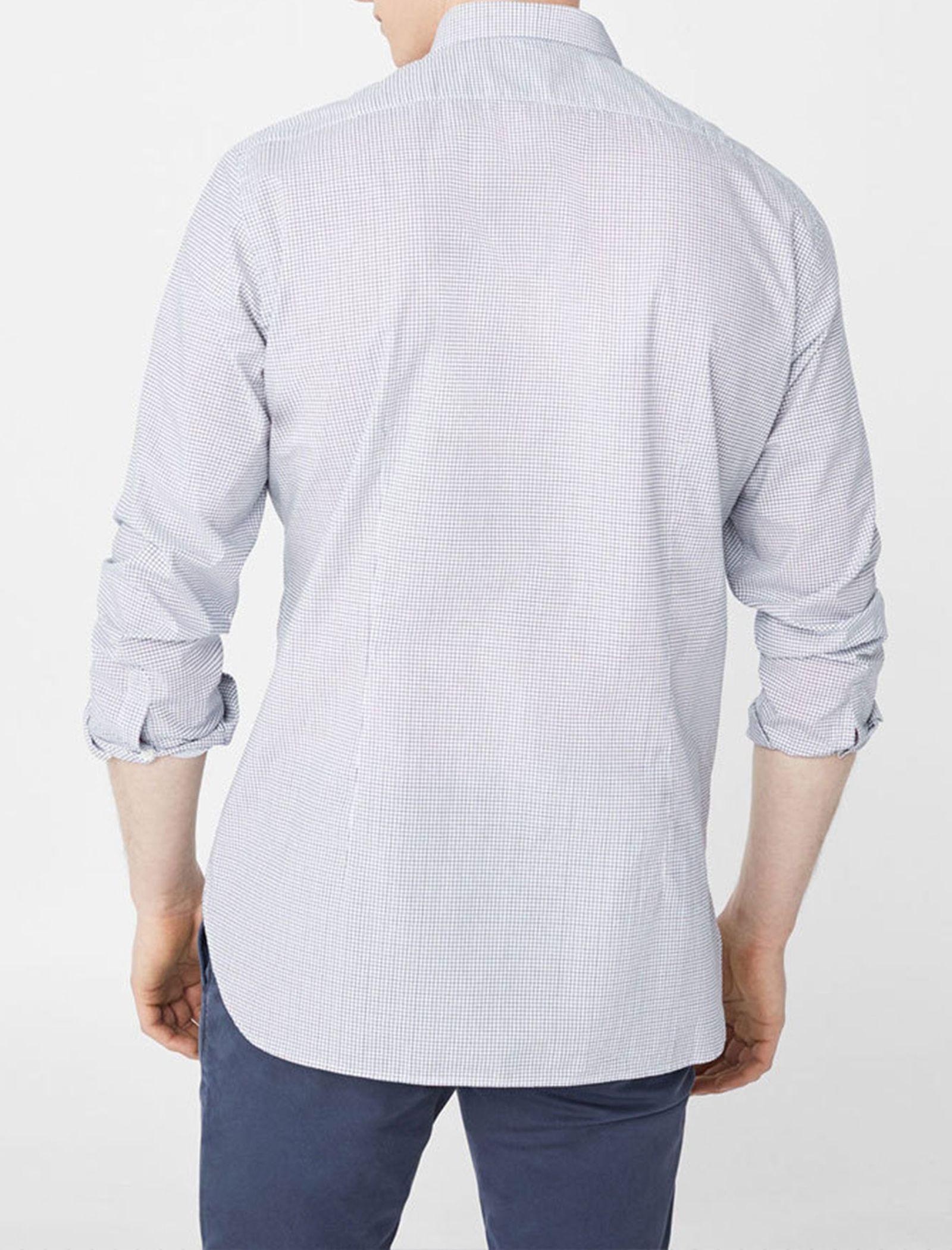 پیراهن آستین بلند مردانه - مانگو - سفيد و آبي - 1