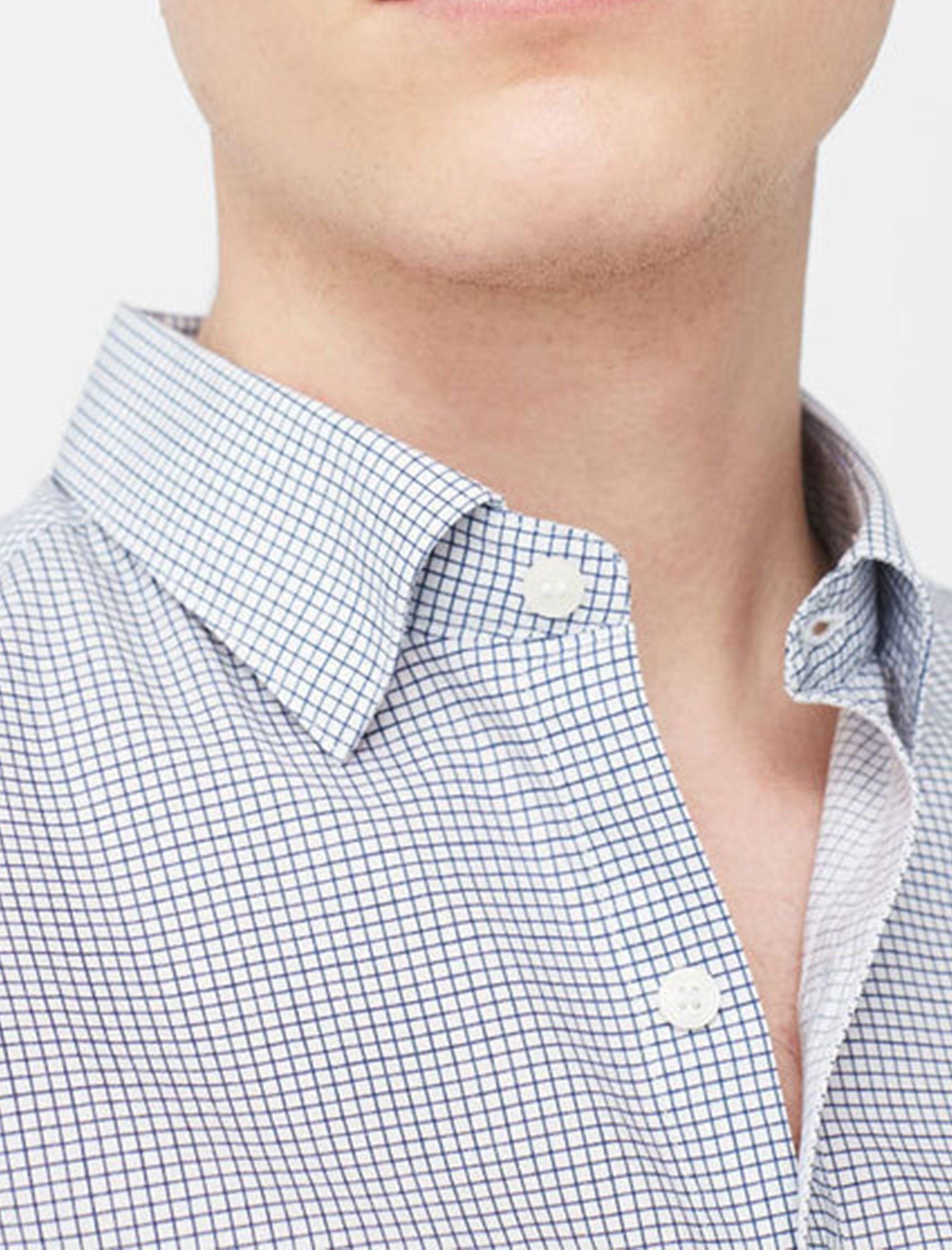 پیراهن آستین بلند مردانه - مانگو - سفيد و آبي - 2