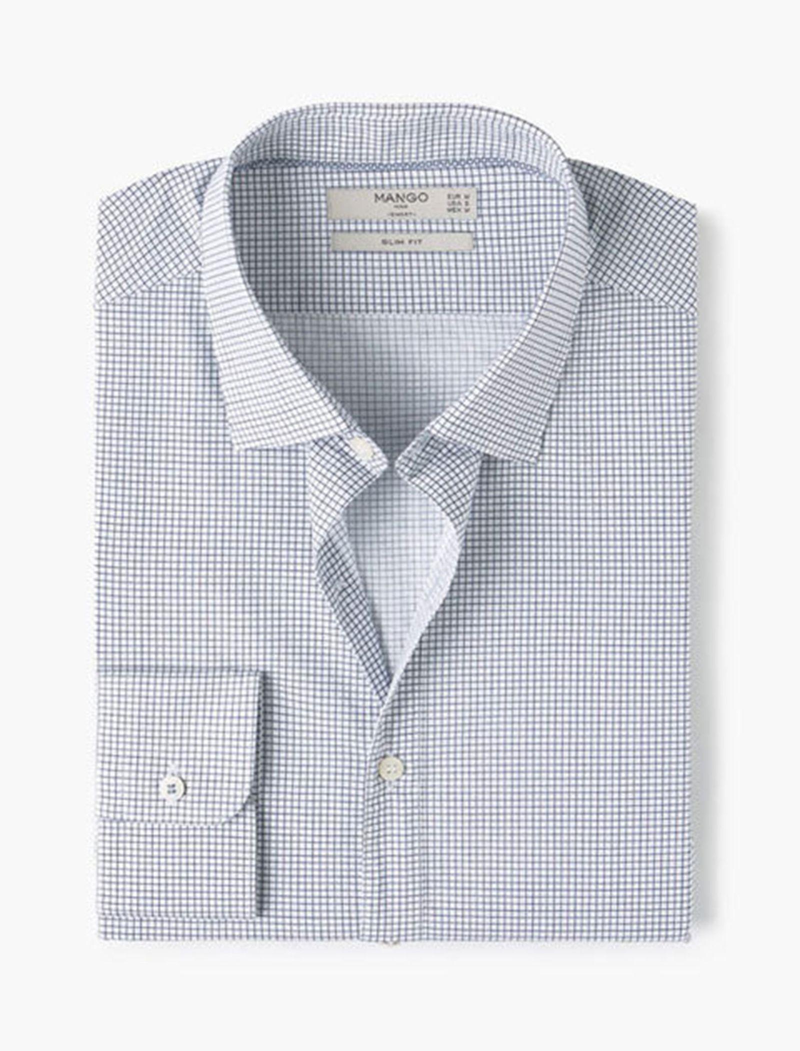 پیراهن آستین بلند مردانه - مانگو - سفيد و آبي - 4