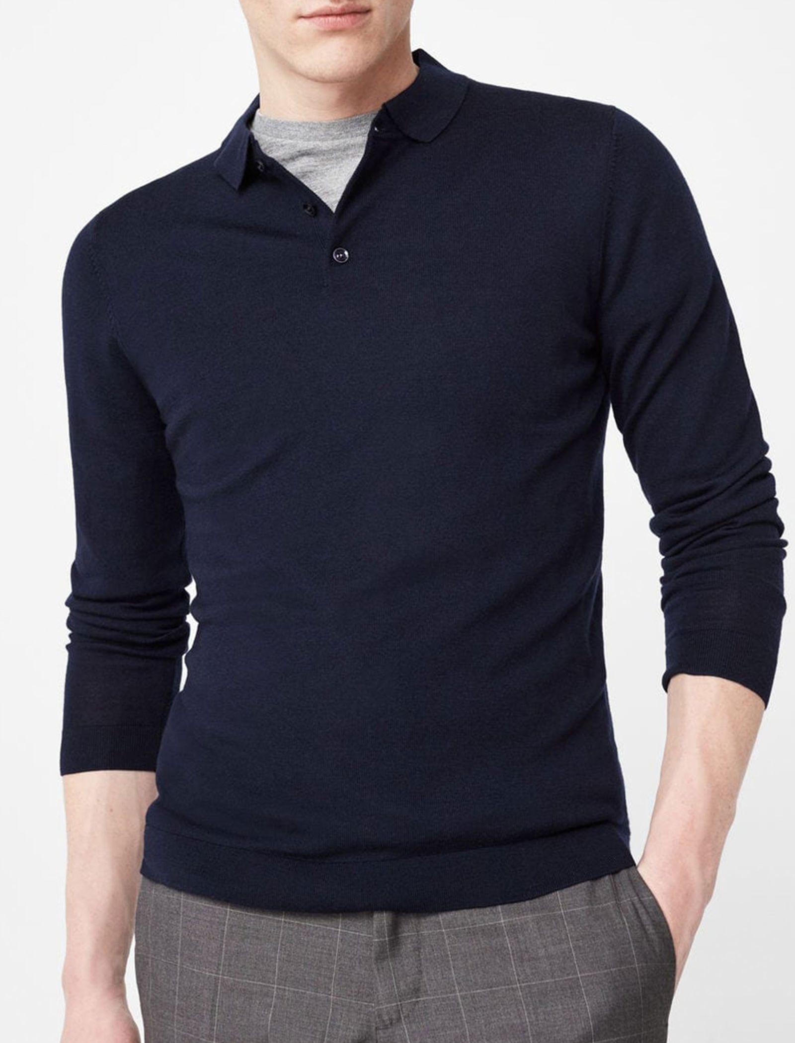 پولوشرت پشمی آستین بلند مردانه - مانگو - سرمه اي - 2
