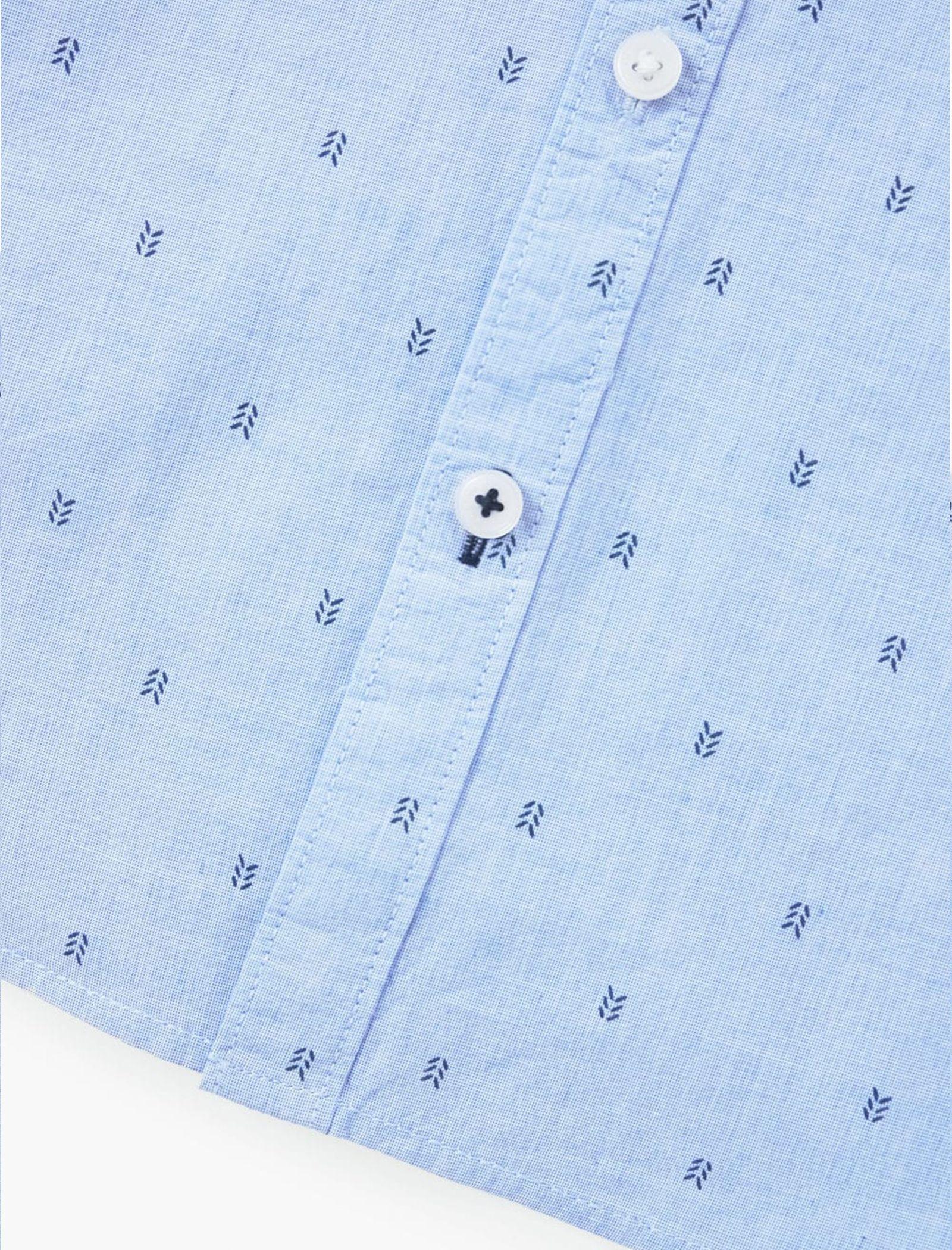 پیراهن نخی یقه برگردان پسرانه - مانگو - آبي - 5