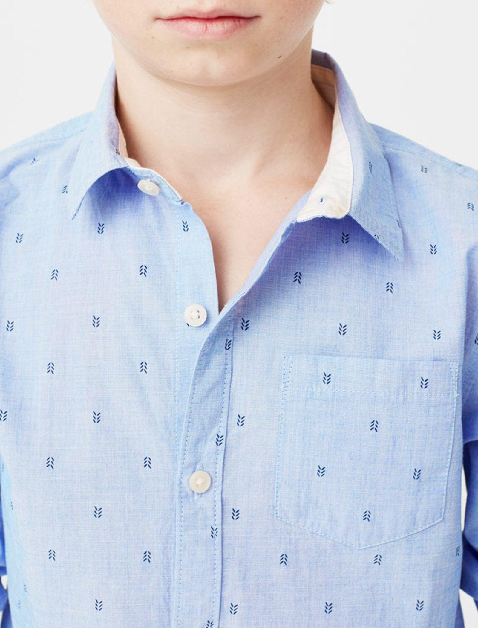 پیراهن نخی یقه برگردان پسرانه - مانگو - آبي - 8