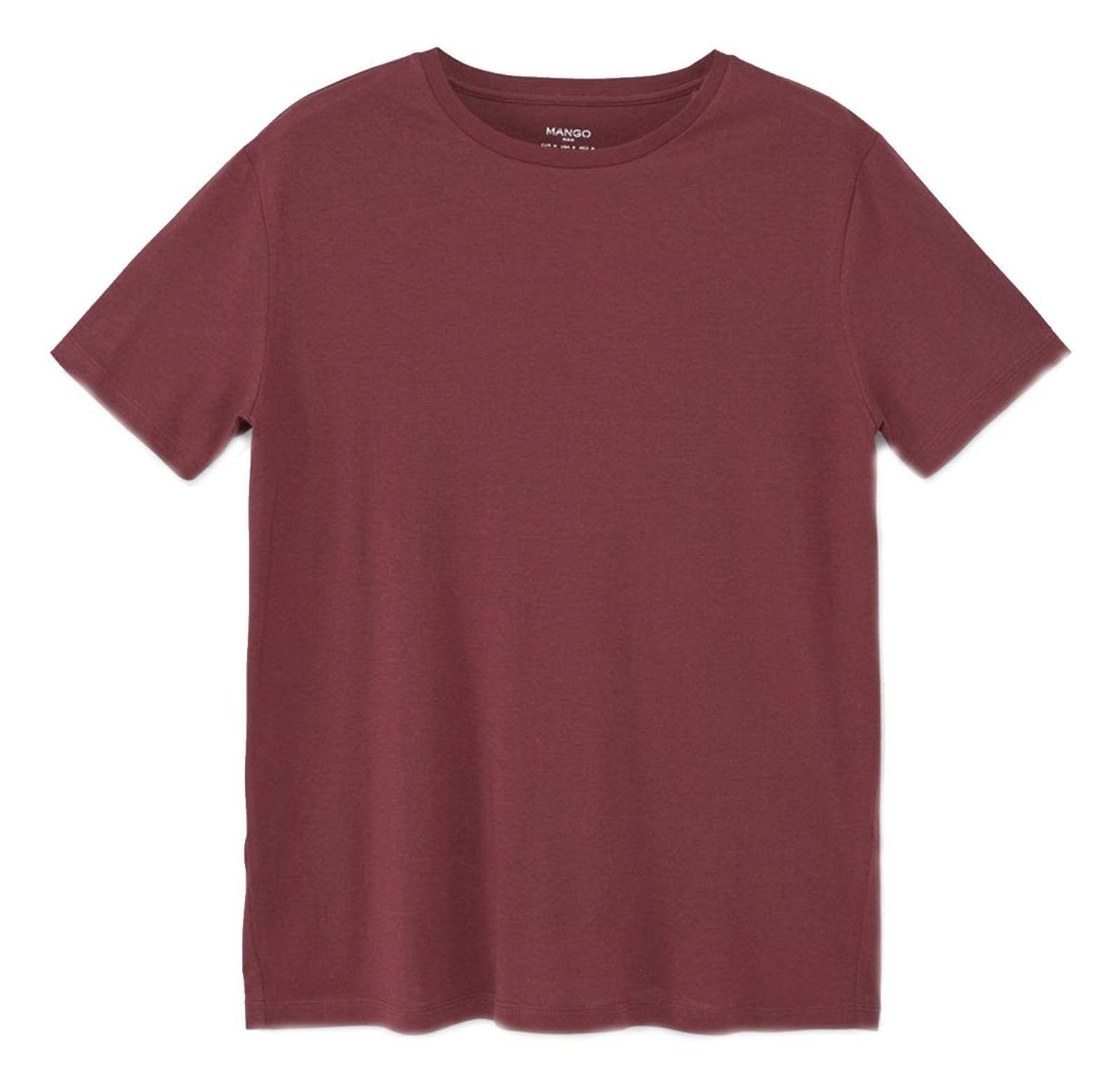 تی شرت نخی یقه گرد مردانه - مانگو - قرمز تيره - 1