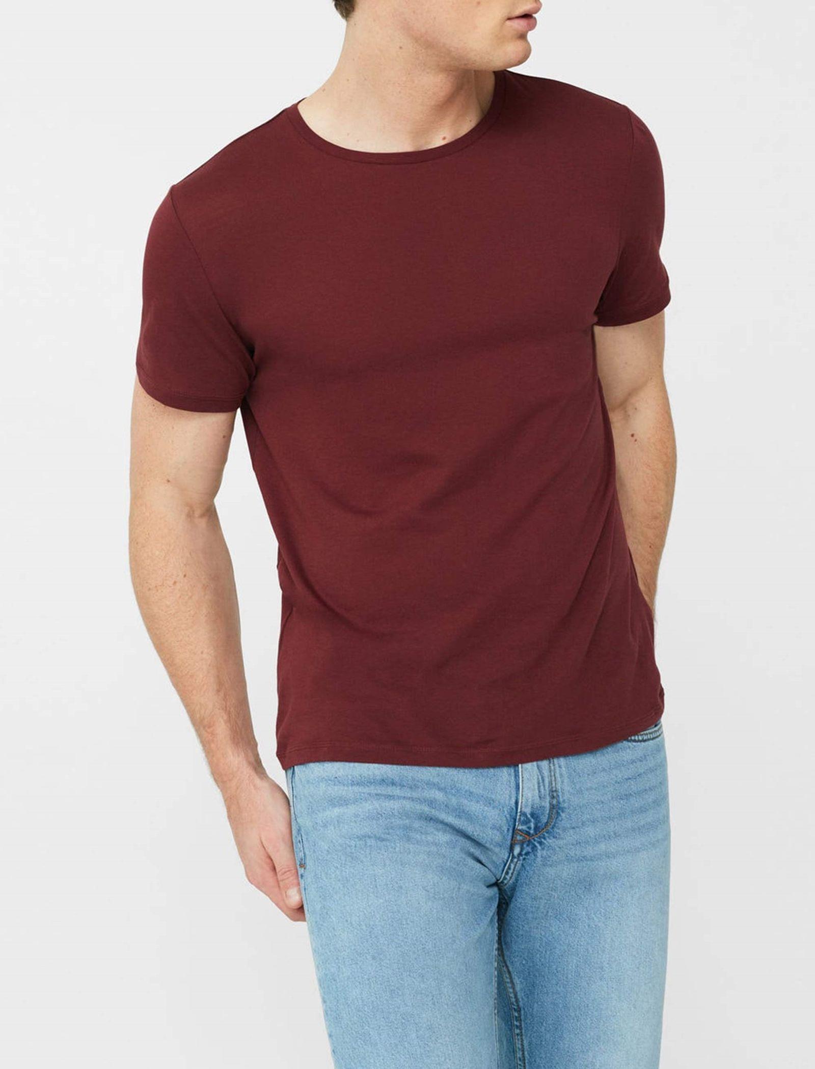 تی شرت نخی یقه گرد مردانه - مانگو - قرمز تيره - 2