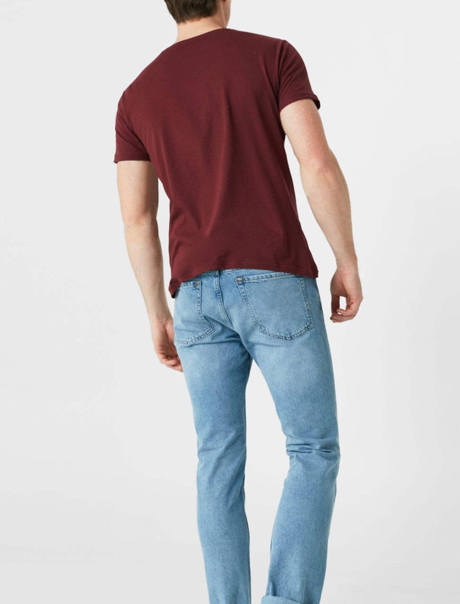 تی شرت نخی یقه گرد مردانه - مانگو - قرمز تيره - 3