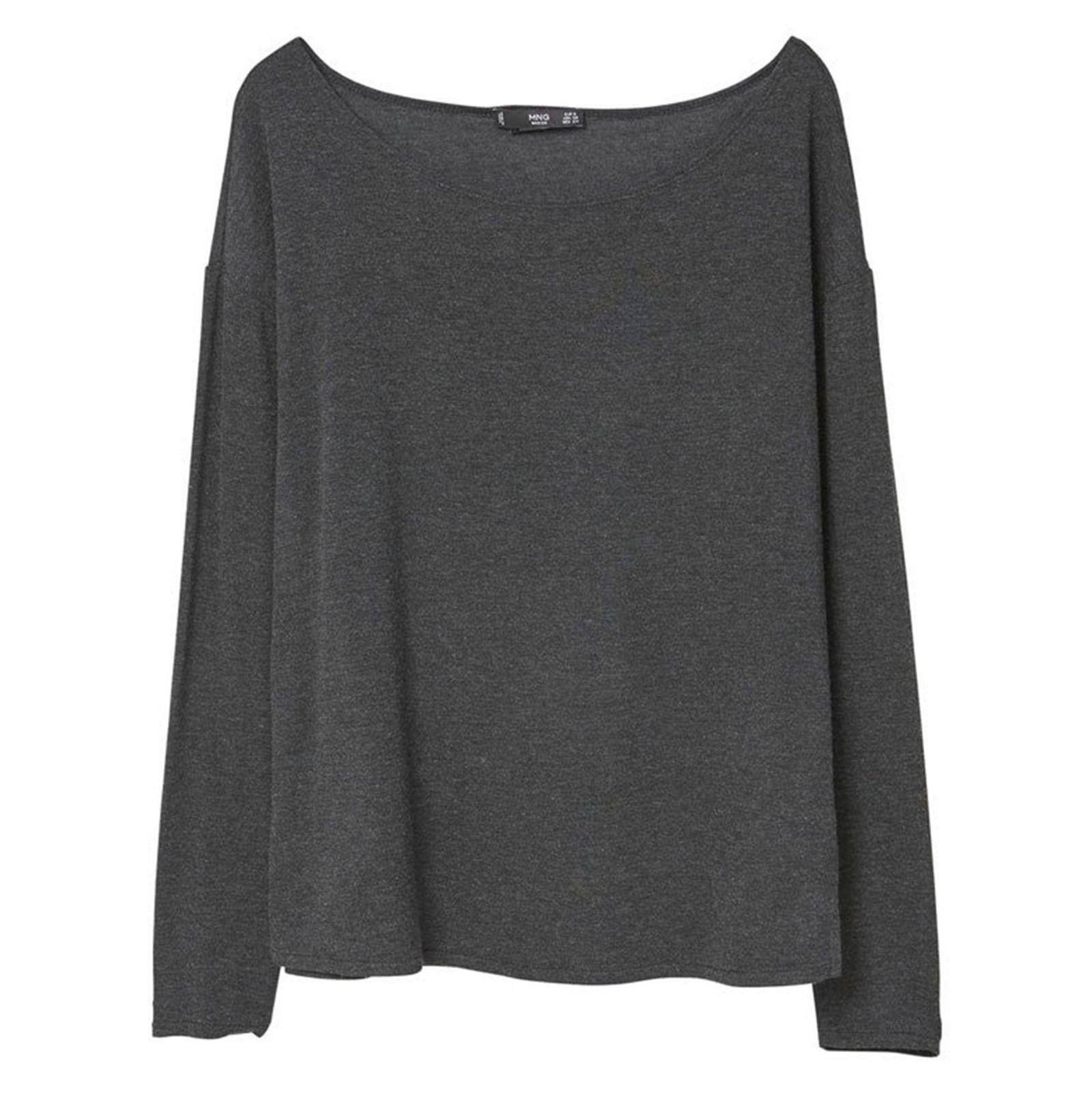 تی شرت ویسکوز آستین بلند زنانه - مانگو - زغالي - 1