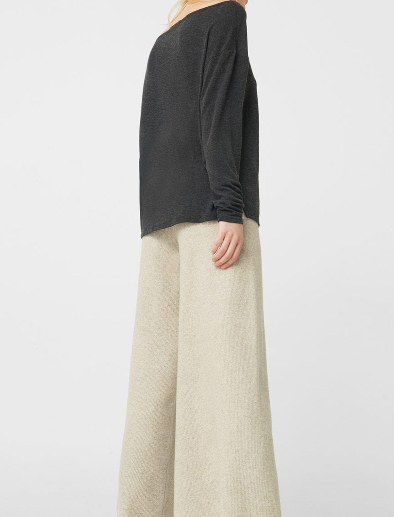 تی شرت ویسکوز آستین بلند زنانه - مانگو - زغالي - 2