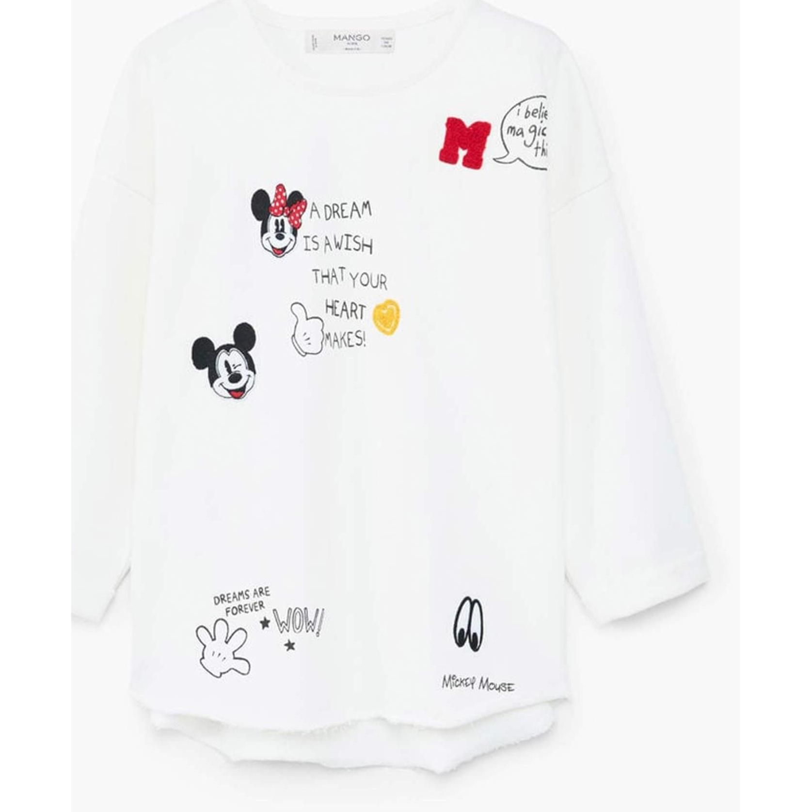 تی شرت نخی یقه گرد دخترانه - مانگو - سفيد - 1