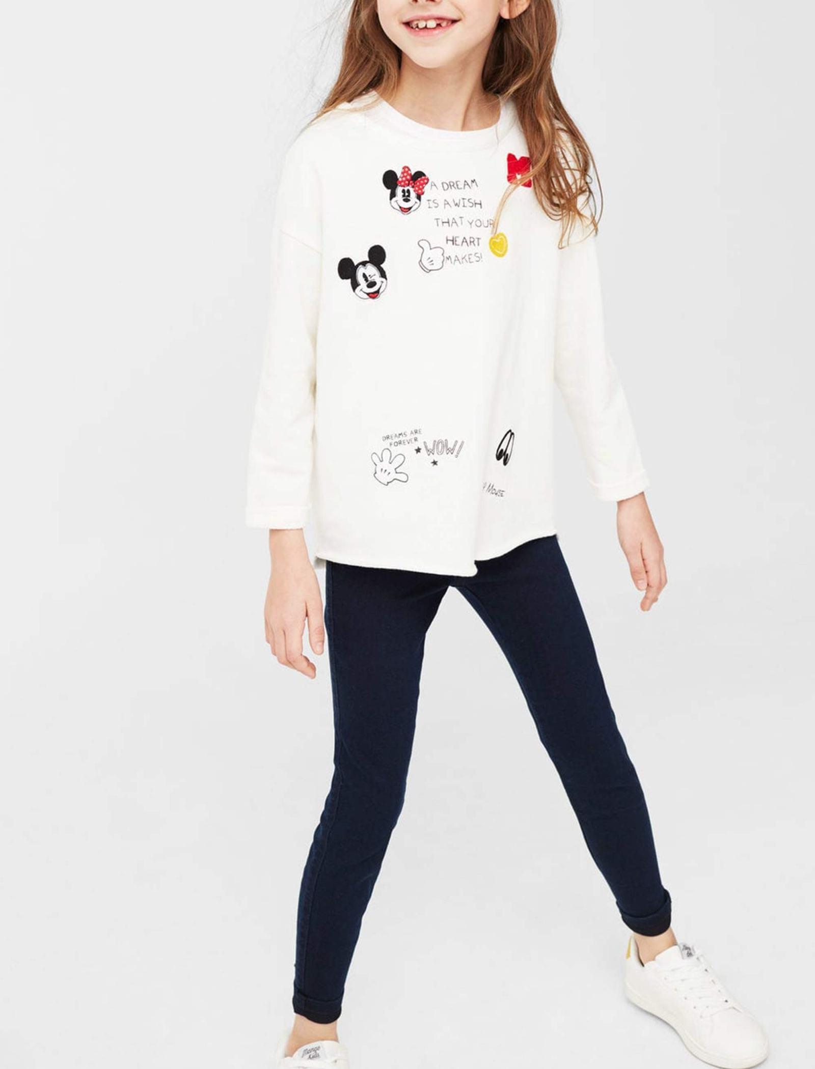 تی شرت نخی یقه گرد دخترانه - مانگو - سفيد - 5