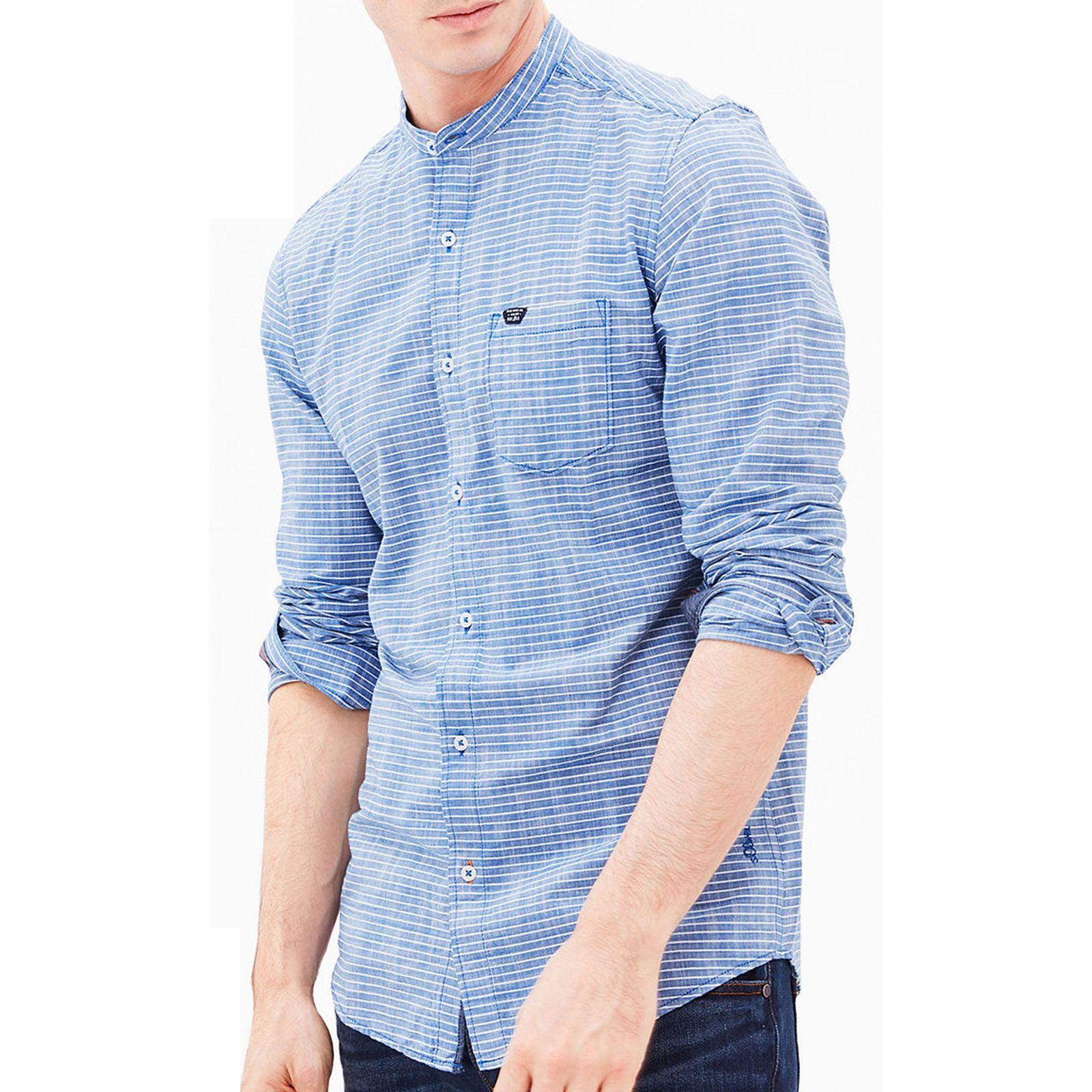 پیراهن نخی آستین بلند مردانه - اس.اولیور - آبي  - 6