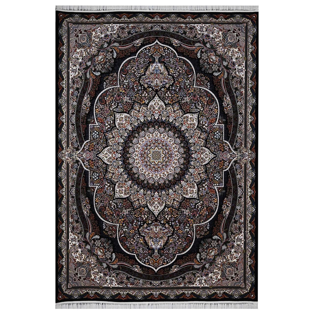 فرش ماشینی فرش هدیه طرح پرهام زمینه سورمه ای