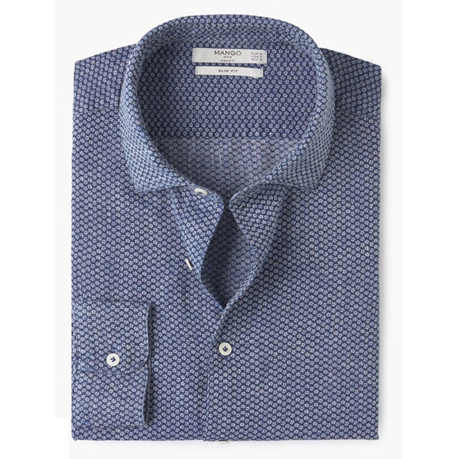 پیراهن آستین بلند مردانه - مانگو - سرمه اي - 1