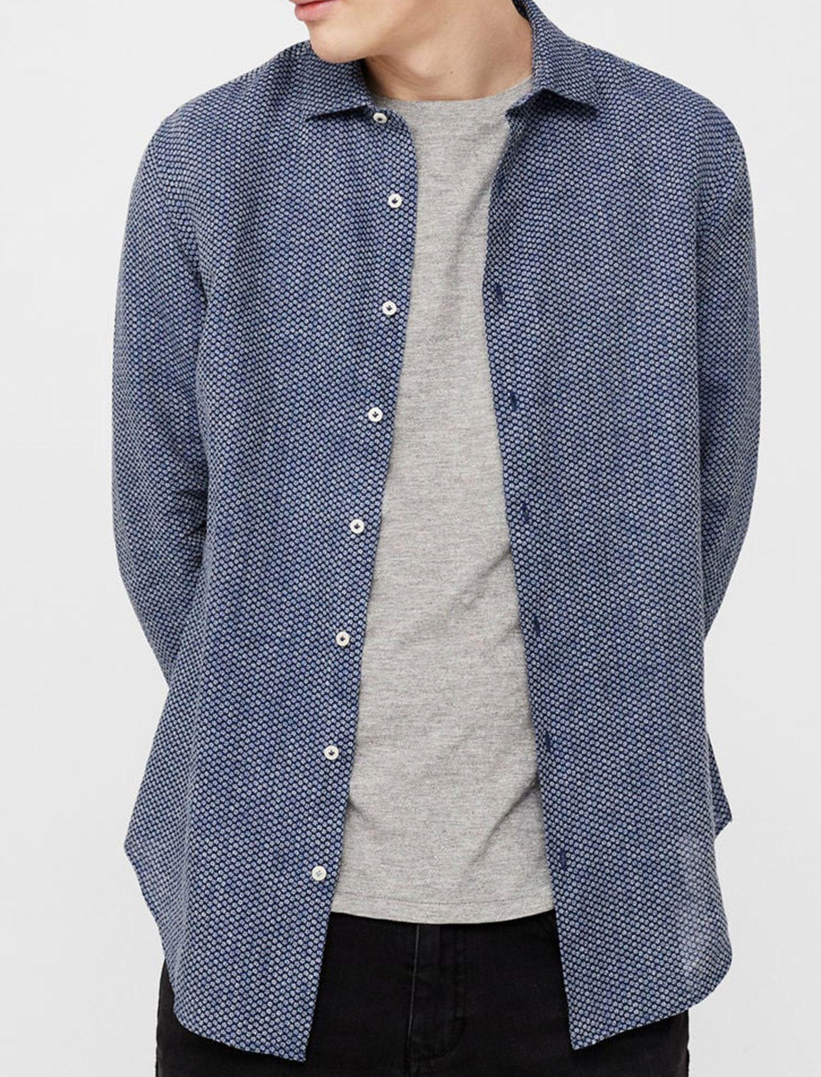 پیراهن آستین بلند مردانه - مانگو - سرمه اي - 2