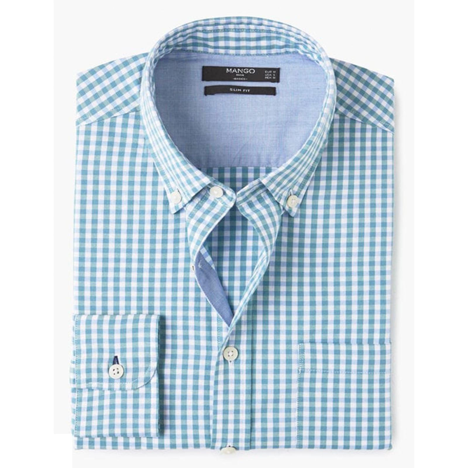 پیراهن نخی آستین بلند مردانه - مانگو - فيروزه اي  - 1