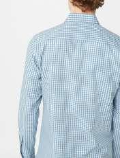 پیراهن نخی آستین بلند مردانه - مانگو - فيروزه اي  - 3