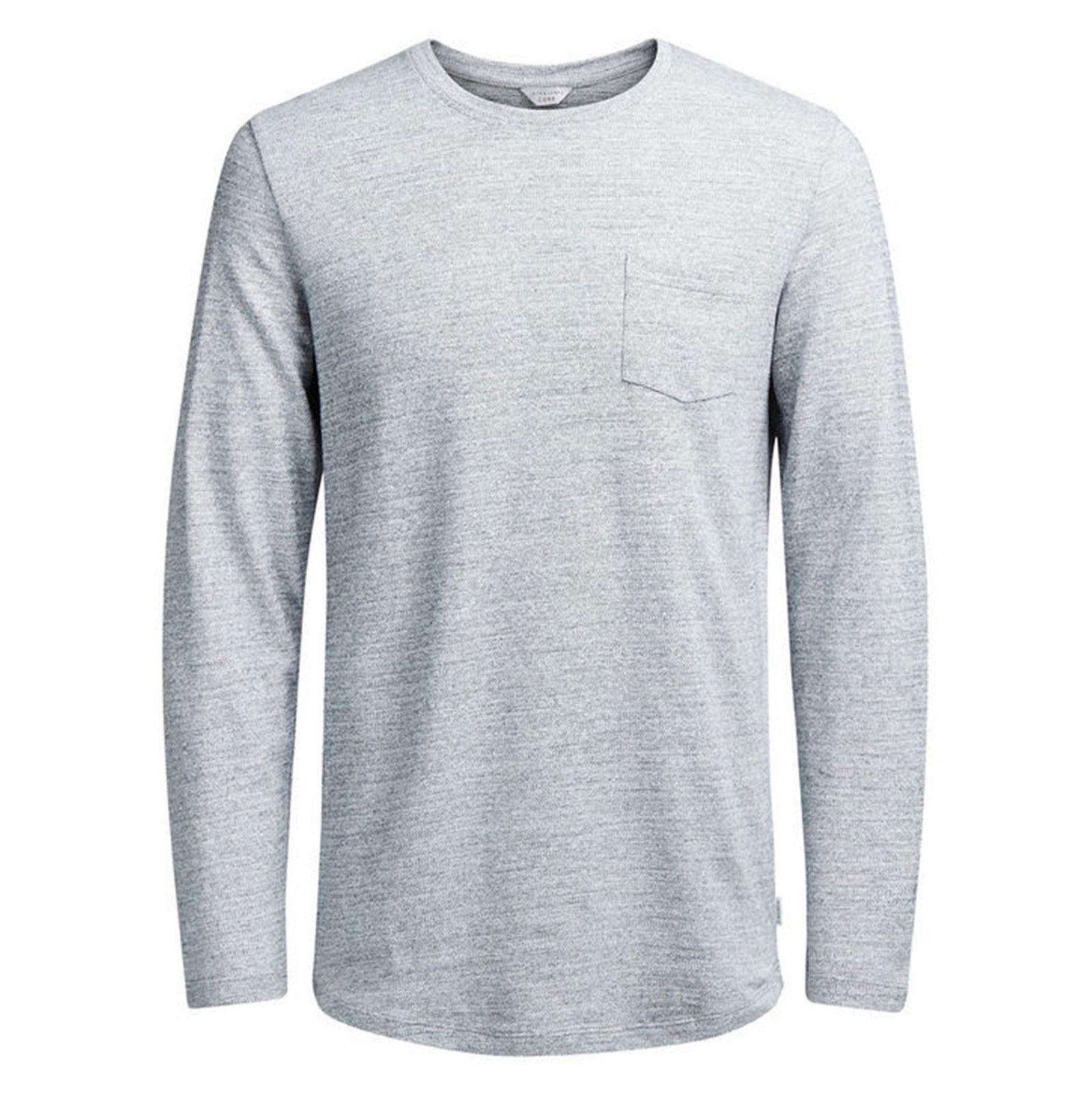 تی شرت نخی آستین بلند مردانه - جک اند جونز - طوسي - 1