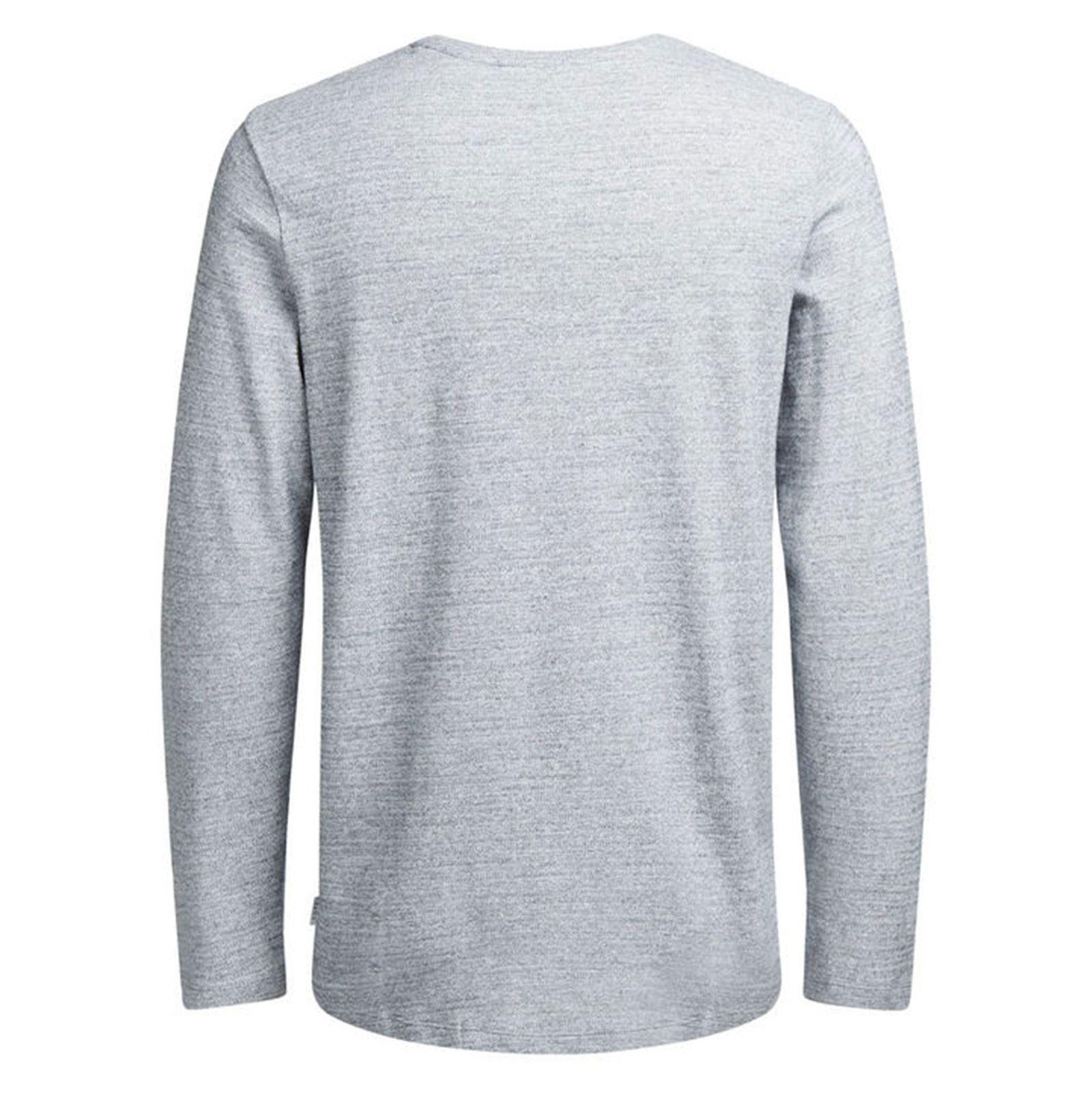 تی شرت نخی آستین بلند مردانه - جک اند جونز - طوسي - 2