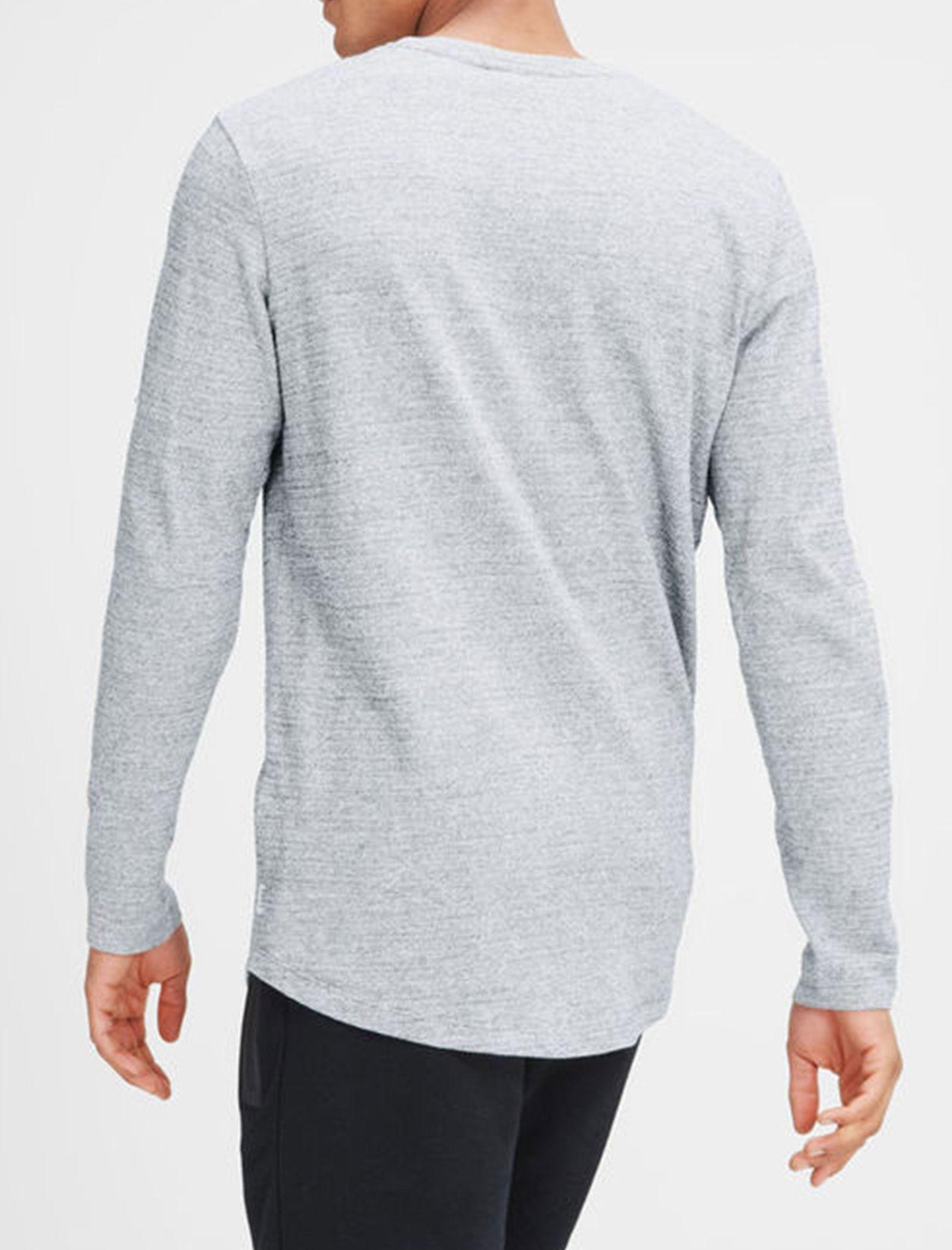تی شرت نخی آستین بلند مردانه - جک اند جونز - طوسي - 4