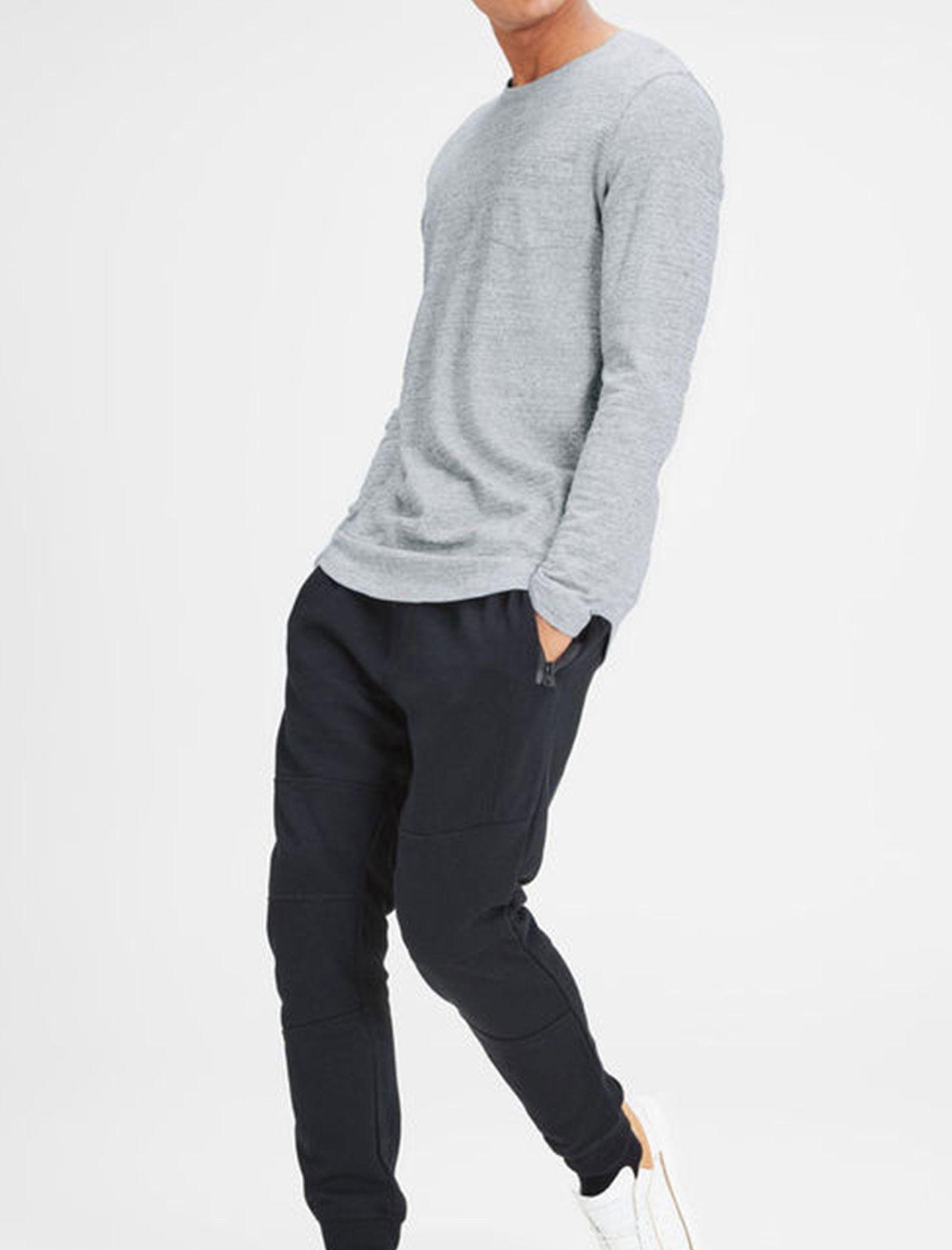 تی شرت نخی آستین بلند مردانه - جک اند جونز - طوسي - 5