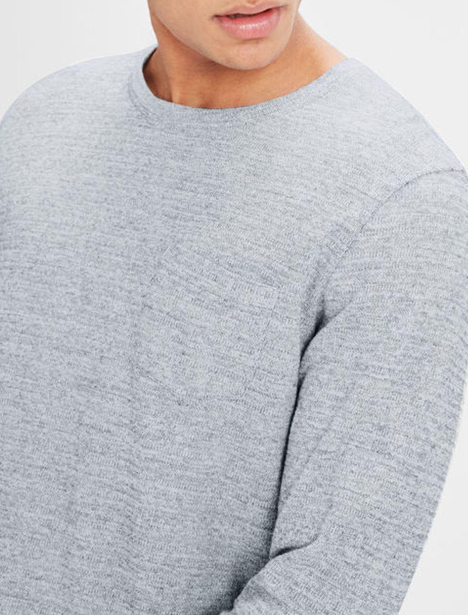 تی شرت نخی آستین بلند مردانه - جک اند جونز - طوسي - 6