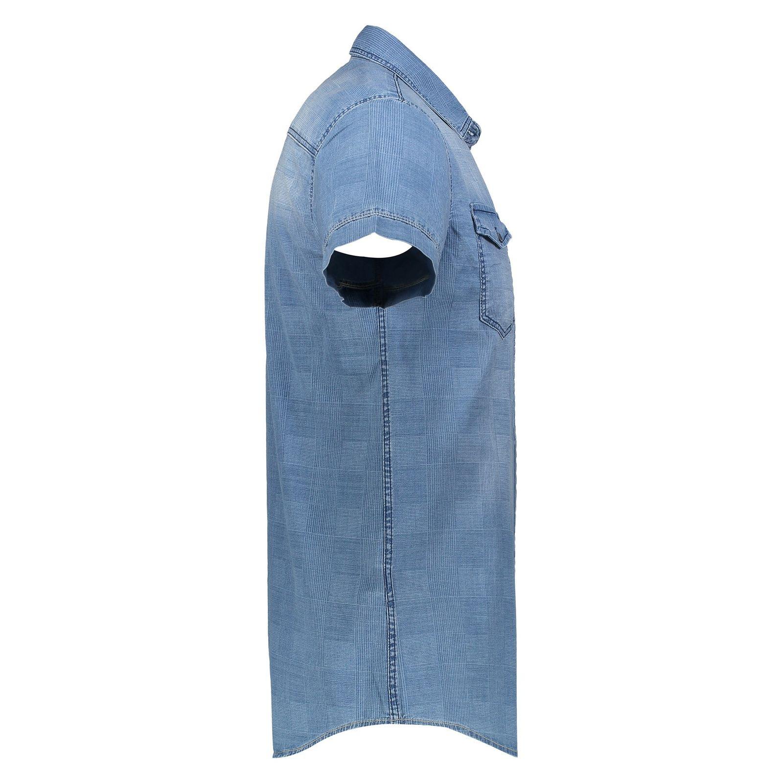 پیراهن جین آستین کوتاه مردانه - ال سی وایکیکی - آبي - 3