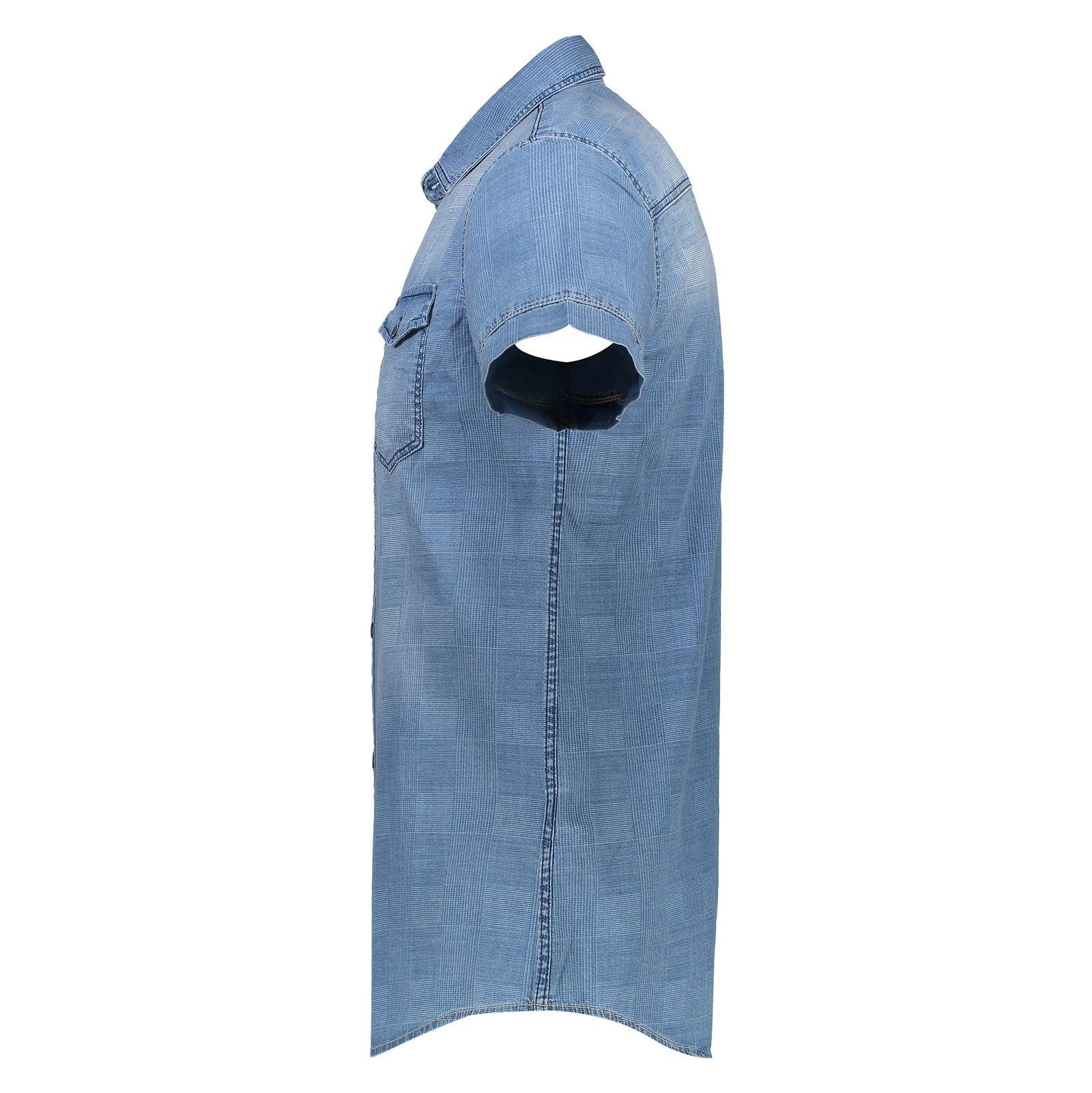 پیراهن جین آستین کوتاه مردانه - ال سی وایکیکی - آبي - 4