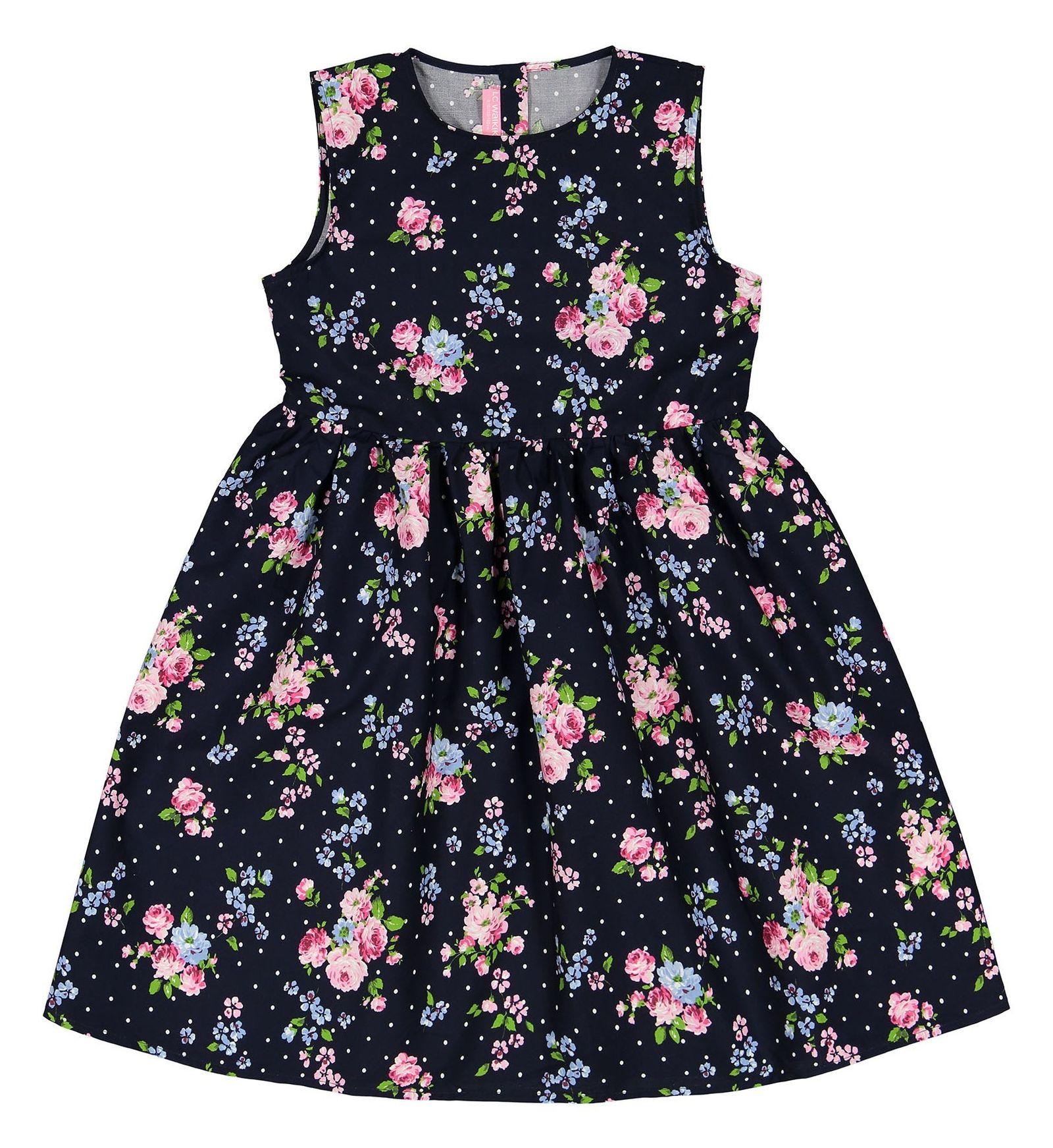 پیراهن نخی میدی دخترانه - ال سی وایکیکی - سرمه اي گلدار - 1