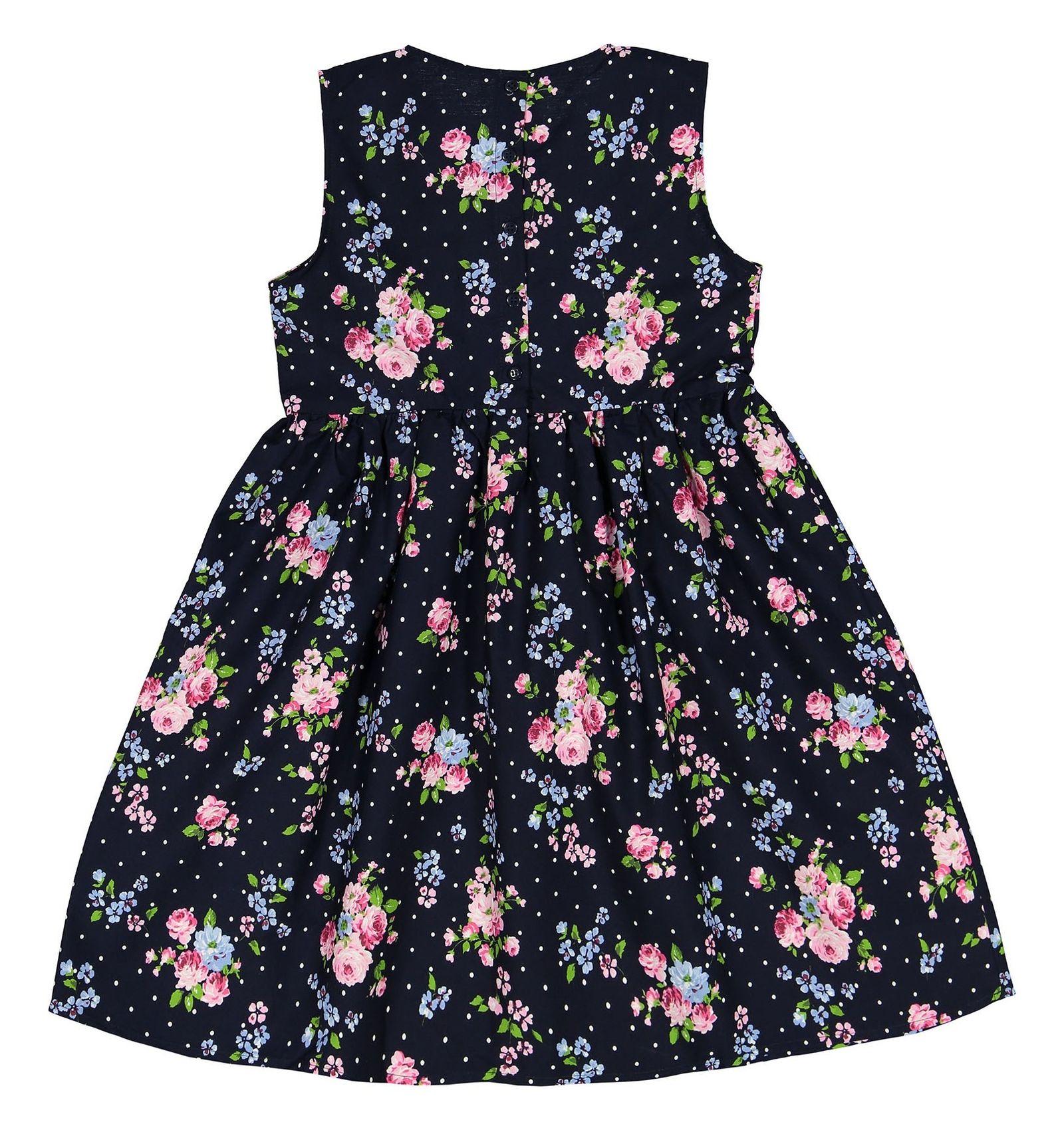 پیراهن نخی میدی دخترانه - ال سی وایکیکی - سرمه اي گلدار - 2
