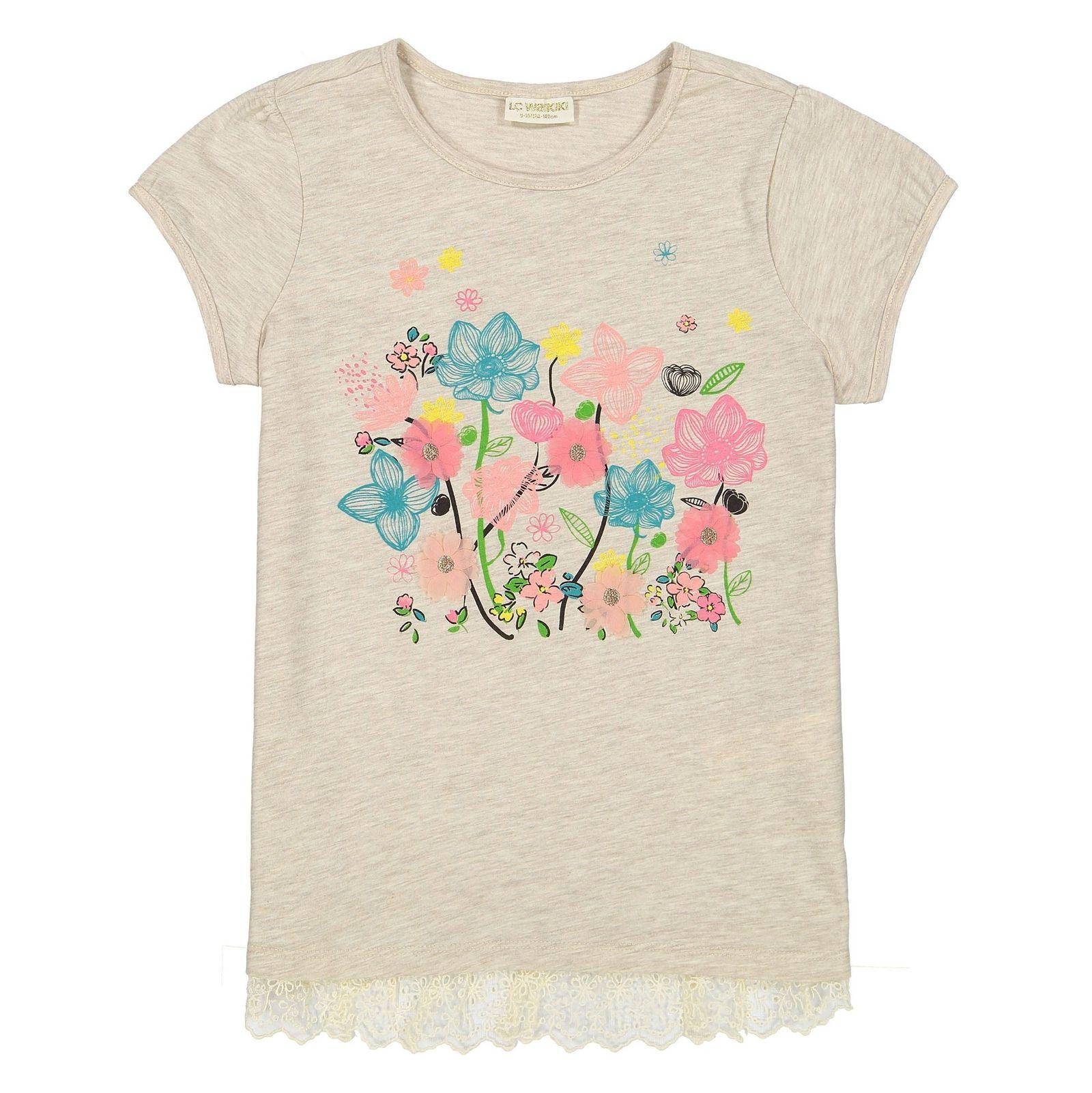 تی شرت ویسکوز یقه گرد دخترانه - ال سی وایکیکی - کرم - 1