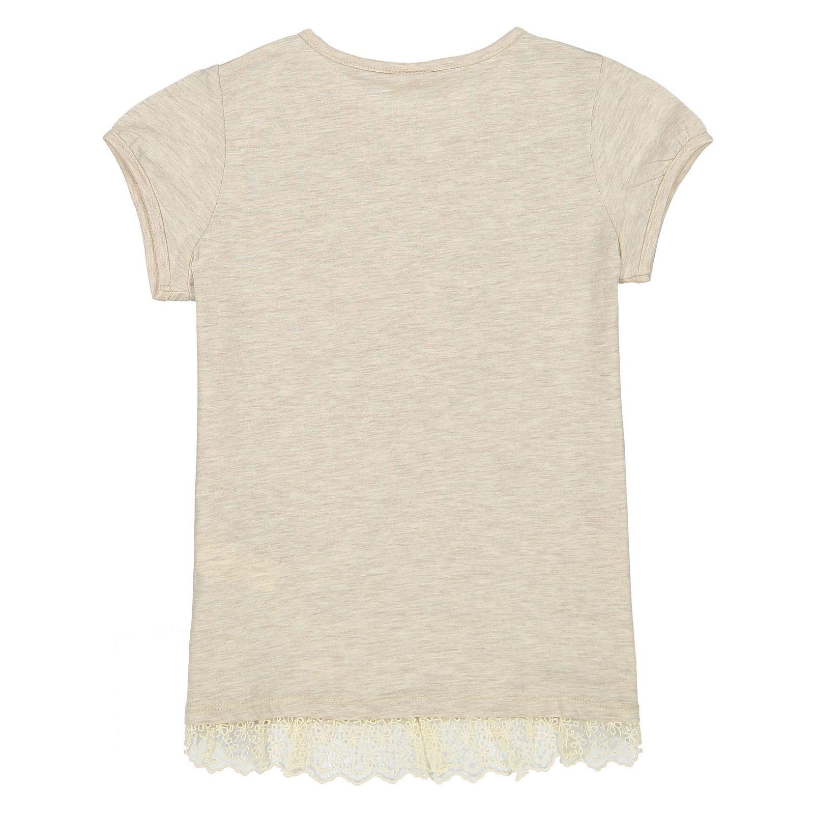 تی شرت ویسکوز یقه گرد دخترانه - ال سی وایکیکی - کرم - 2